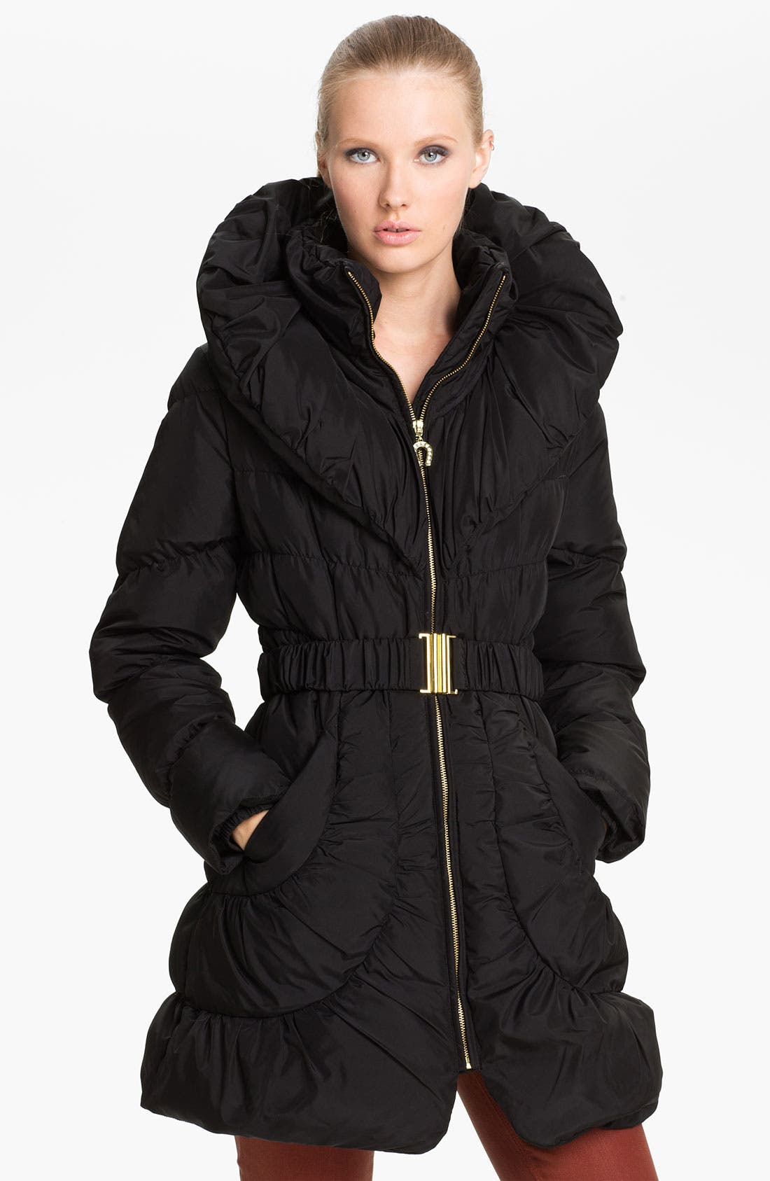 Main Image - Betsey Johnson Pillow Collar Ruched Coat