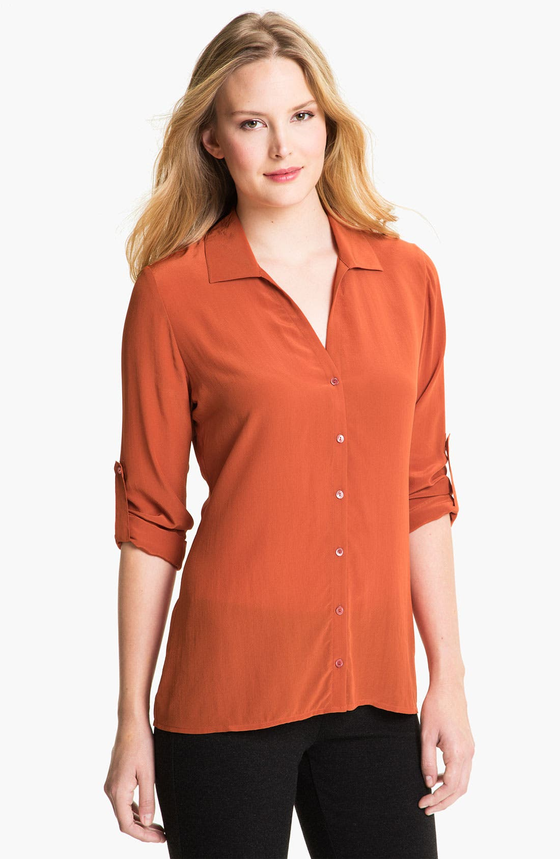 Alternate Image 1 Selected - Eileen Fisher Crêpe de Chine Silk Shirt