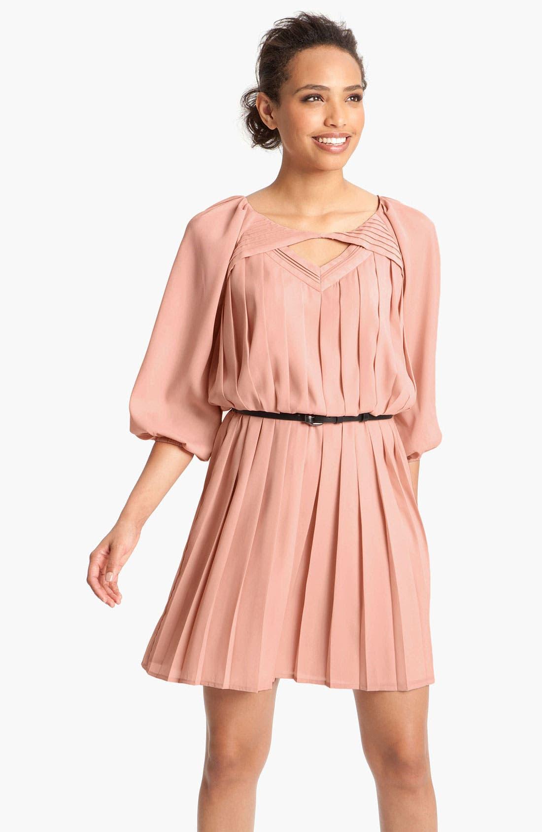 Alternate Image 1 Selected - Jessica Simpson Pleated Crêpe de Chine Blouson Dress