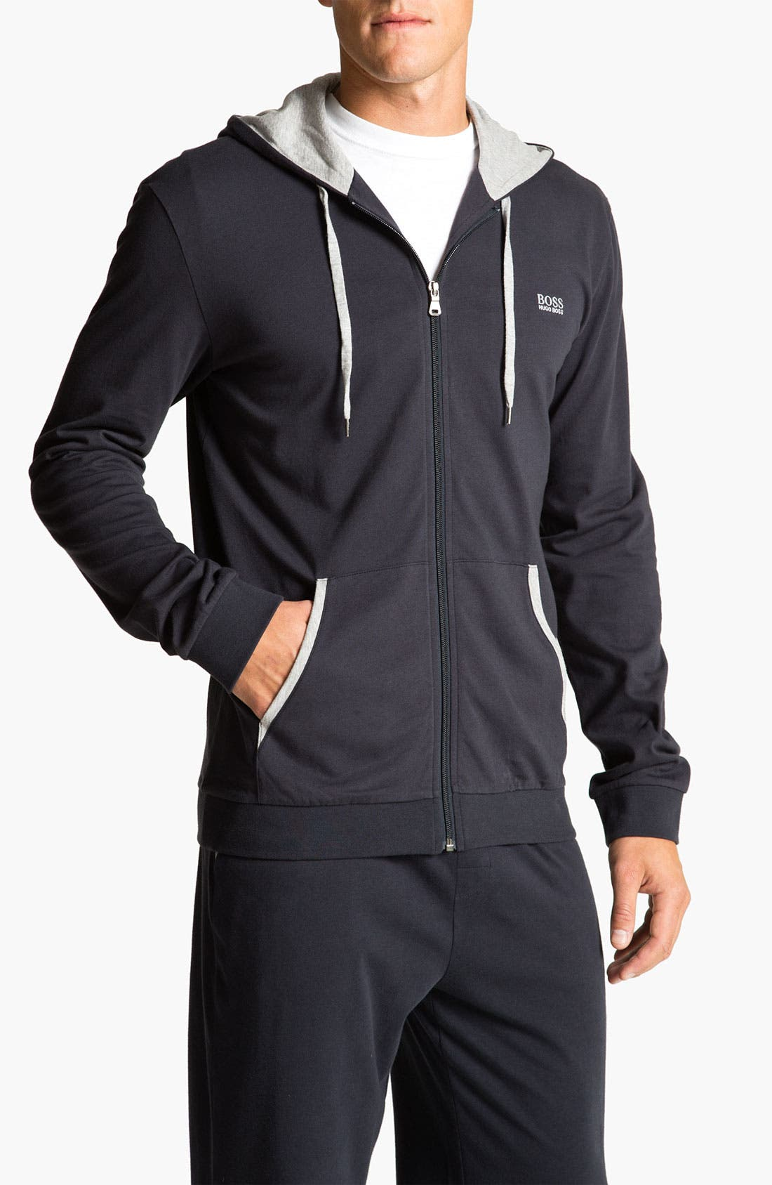 Alternate Image 1 Selected - BOSS HUGO BOSS Cotton Zip Hoodie