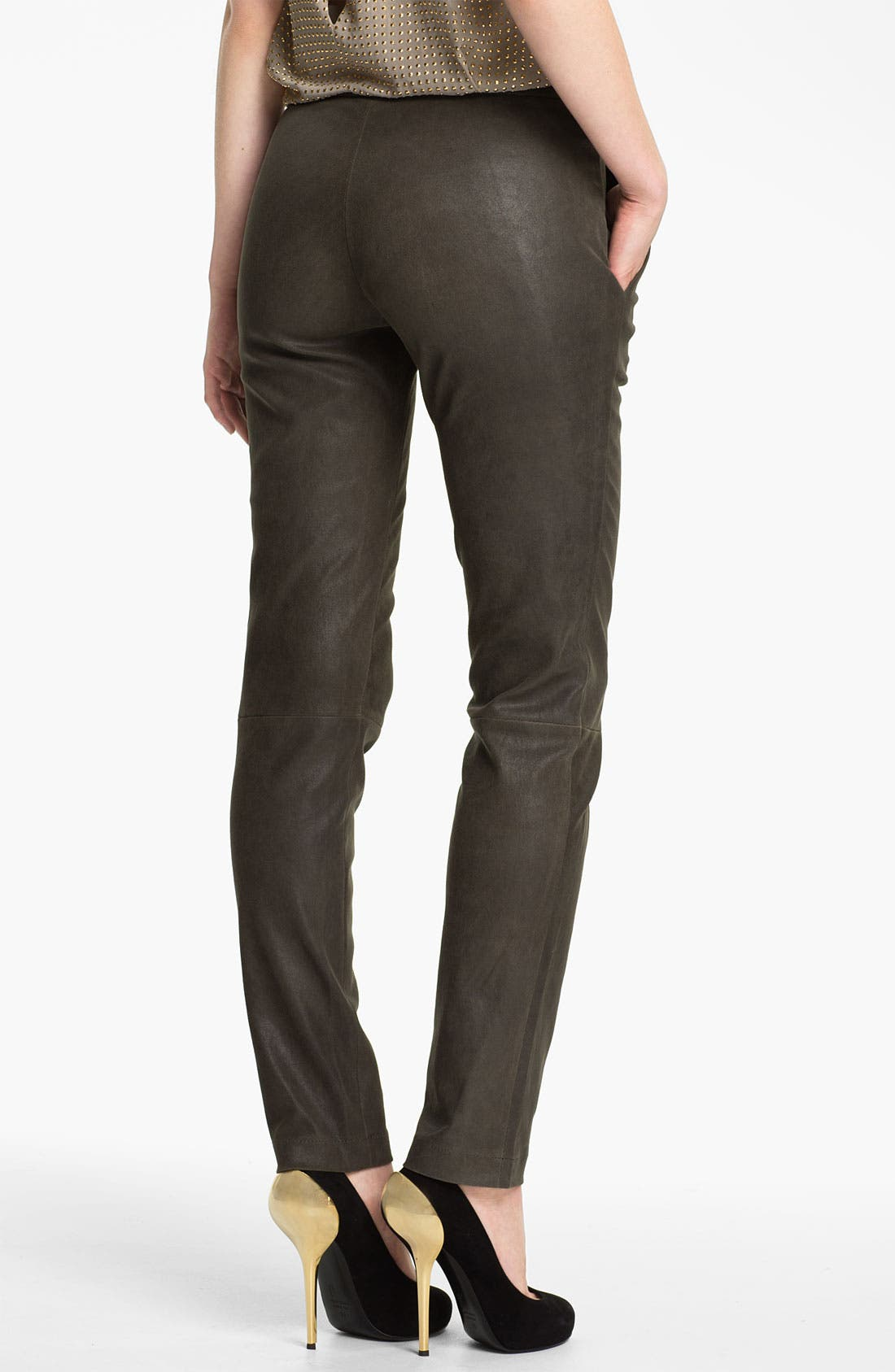 Alternate Image 2  - L'AGENCE Stretch Leather Leggings