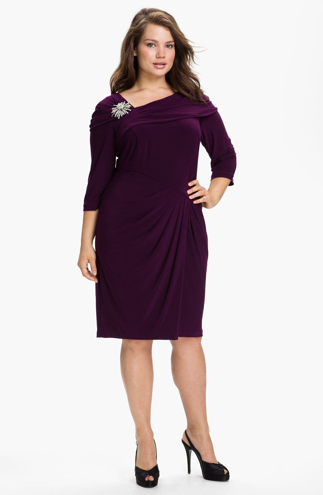 Main Image - Alex Evenings Embellished Faux Wrap Jersey Dress (Plus)