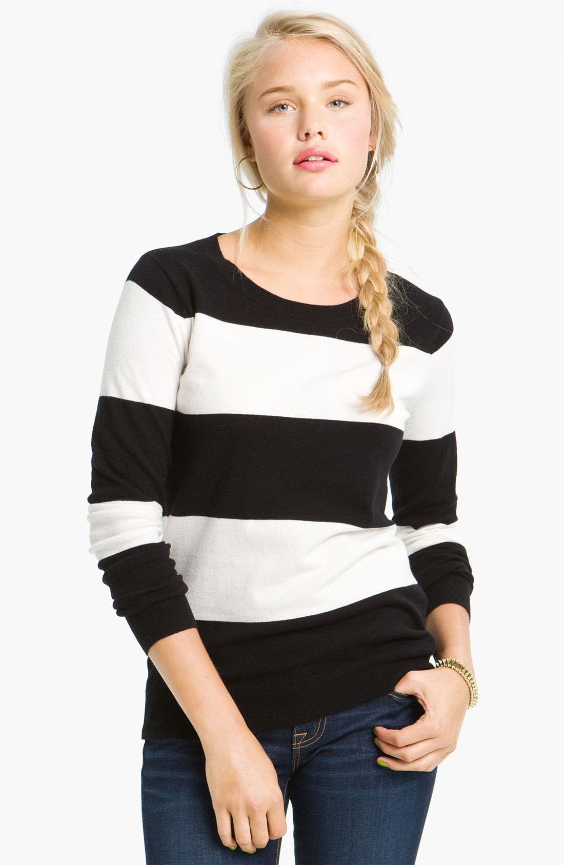 Alternate Image 1 Selected - BP. Long Sleeve Crewneck Sweater (Juniors)