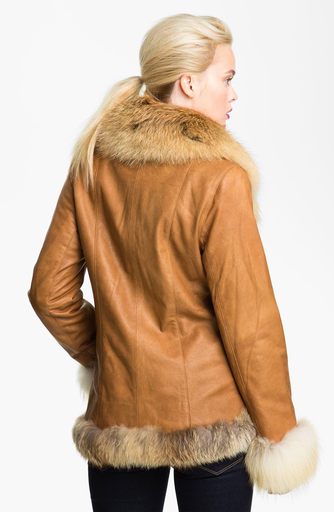Alternate Image 2  - Chosen Furs Lambskin Leather Coat with Fox Fur Trim