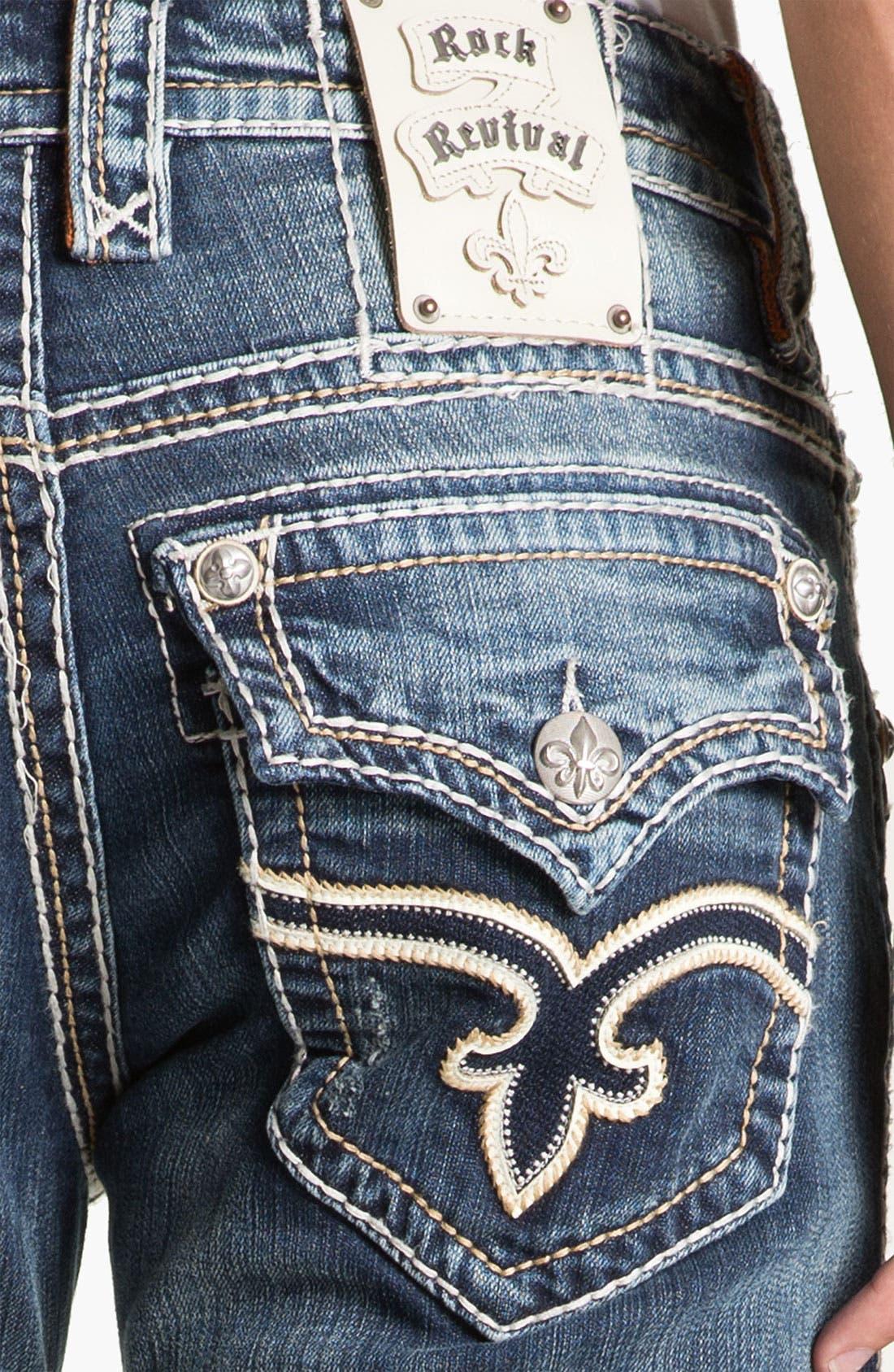 Alternate Image 4  - Rock Revival 'Tony' Straight Leg Jeans (Dark Blue)