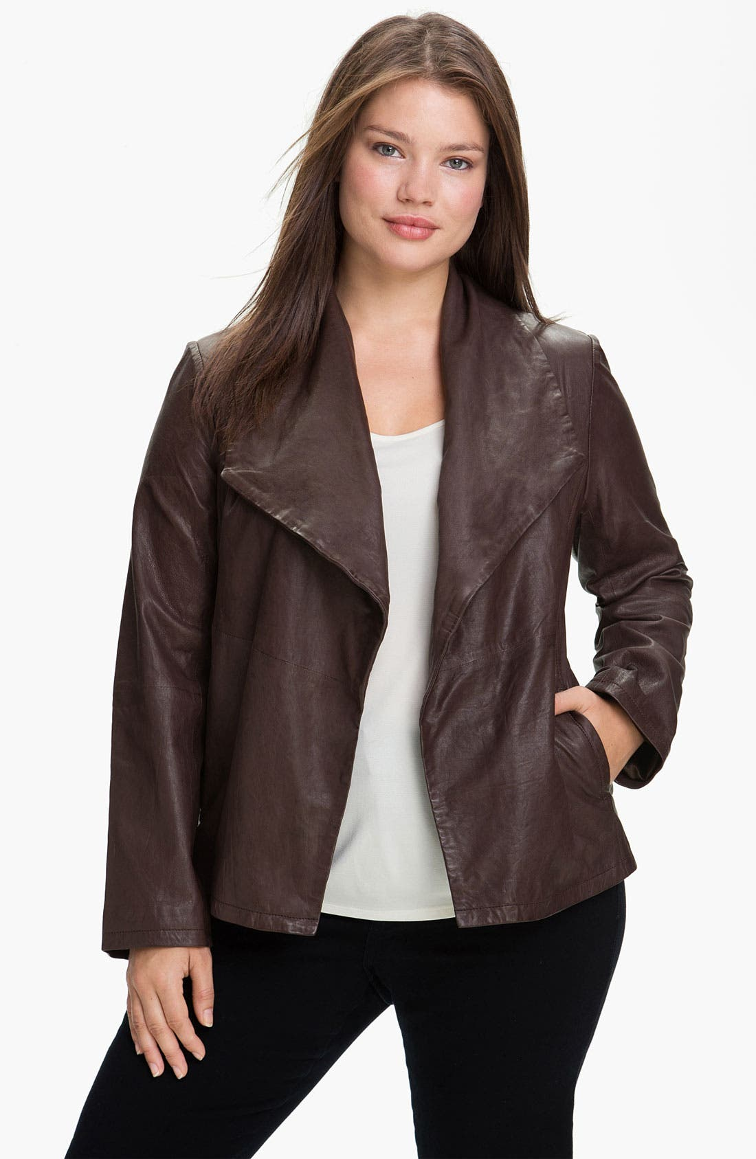 Main Image - Eileen Fisher Open Front Leather Jacket (Plus)
