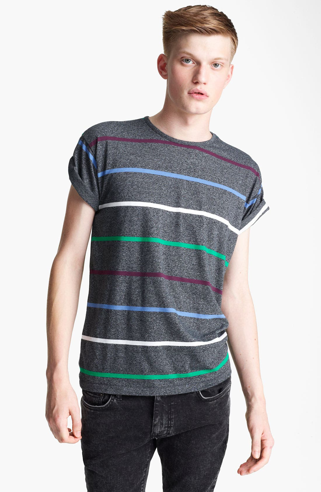 Alternate Image 1 Selected - Topman 'High Roller' Stripe T-Shirt