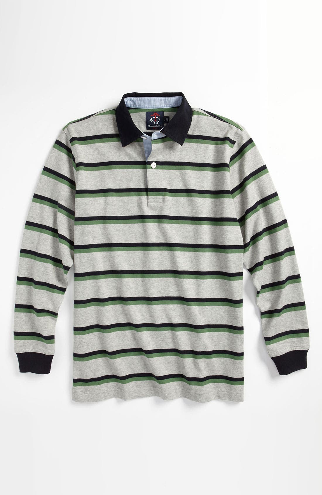 Alternate Image 1 Selected - Brooks Brothers Double Stripe Rugby Shirt (Big Boys)