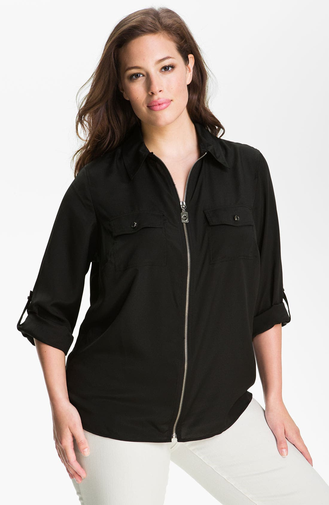 Alternate Image 1 Selected - MICHAEL Michael Kors Zip Campshirt (Plus Size)