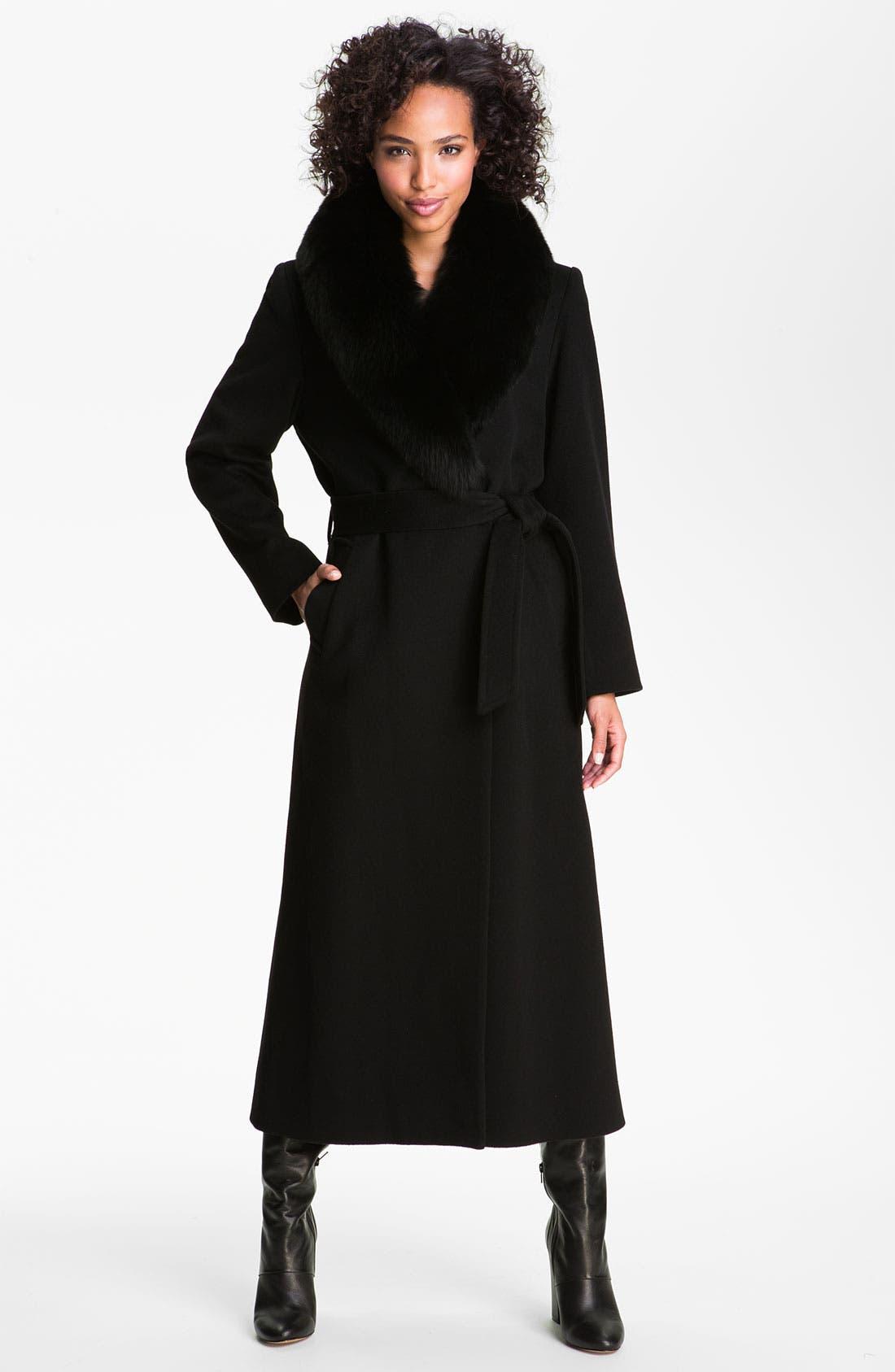 Main Image - Dale Dressin Long Wrap Coat with Fox Fur Collar