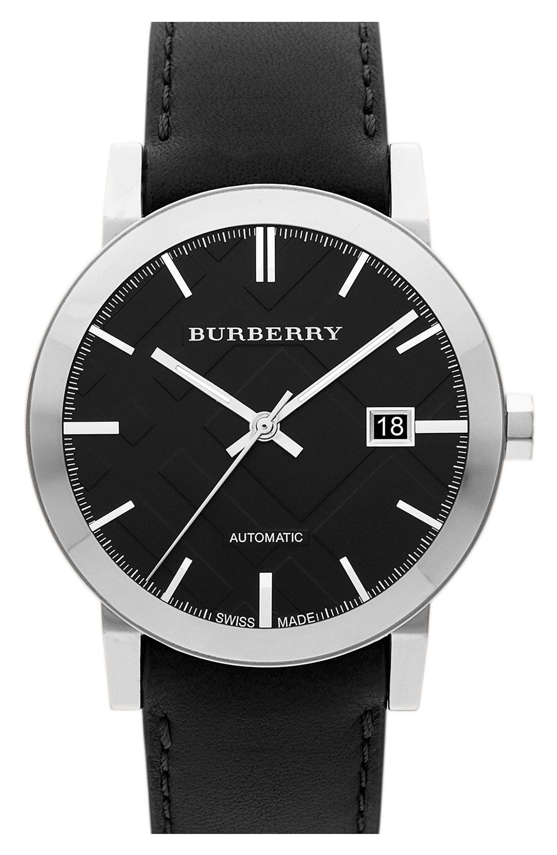 Alternate Image 1 Selected - Burberry Check Stamped Round Dial Watch