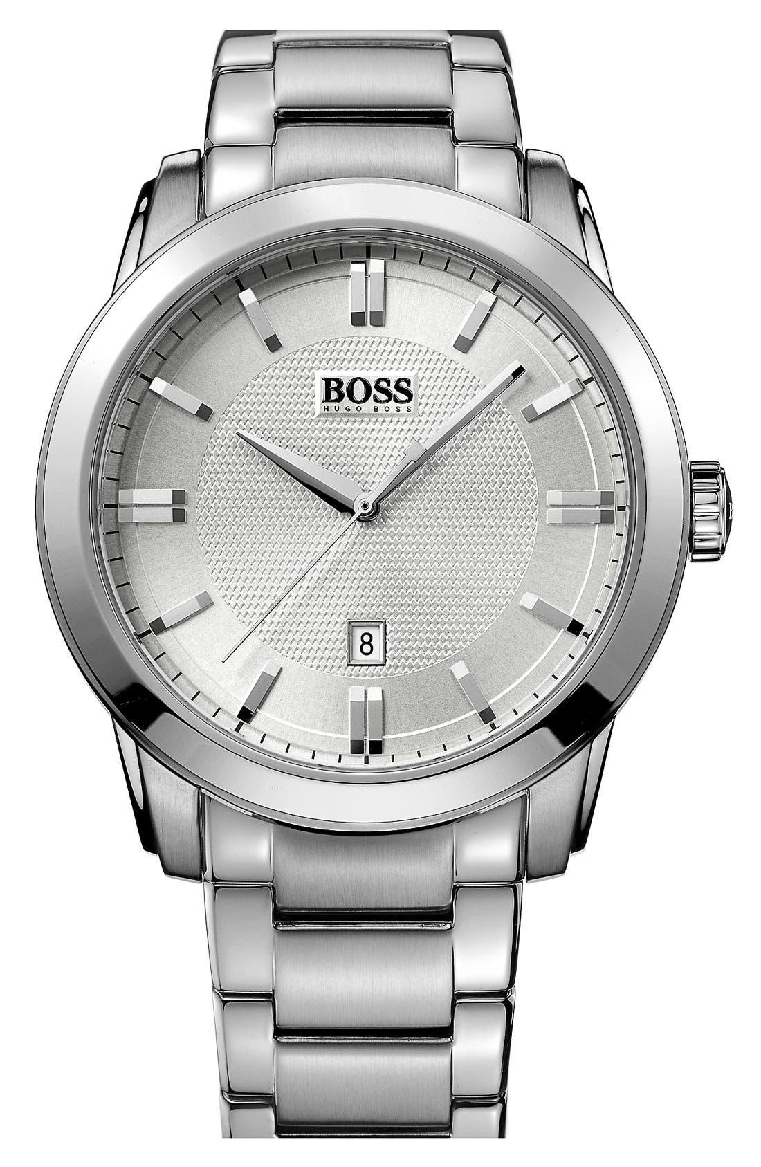 Alternate Image 1 Selected - BOSS HUGO BOSS Round Bracelet Watch, 44mm