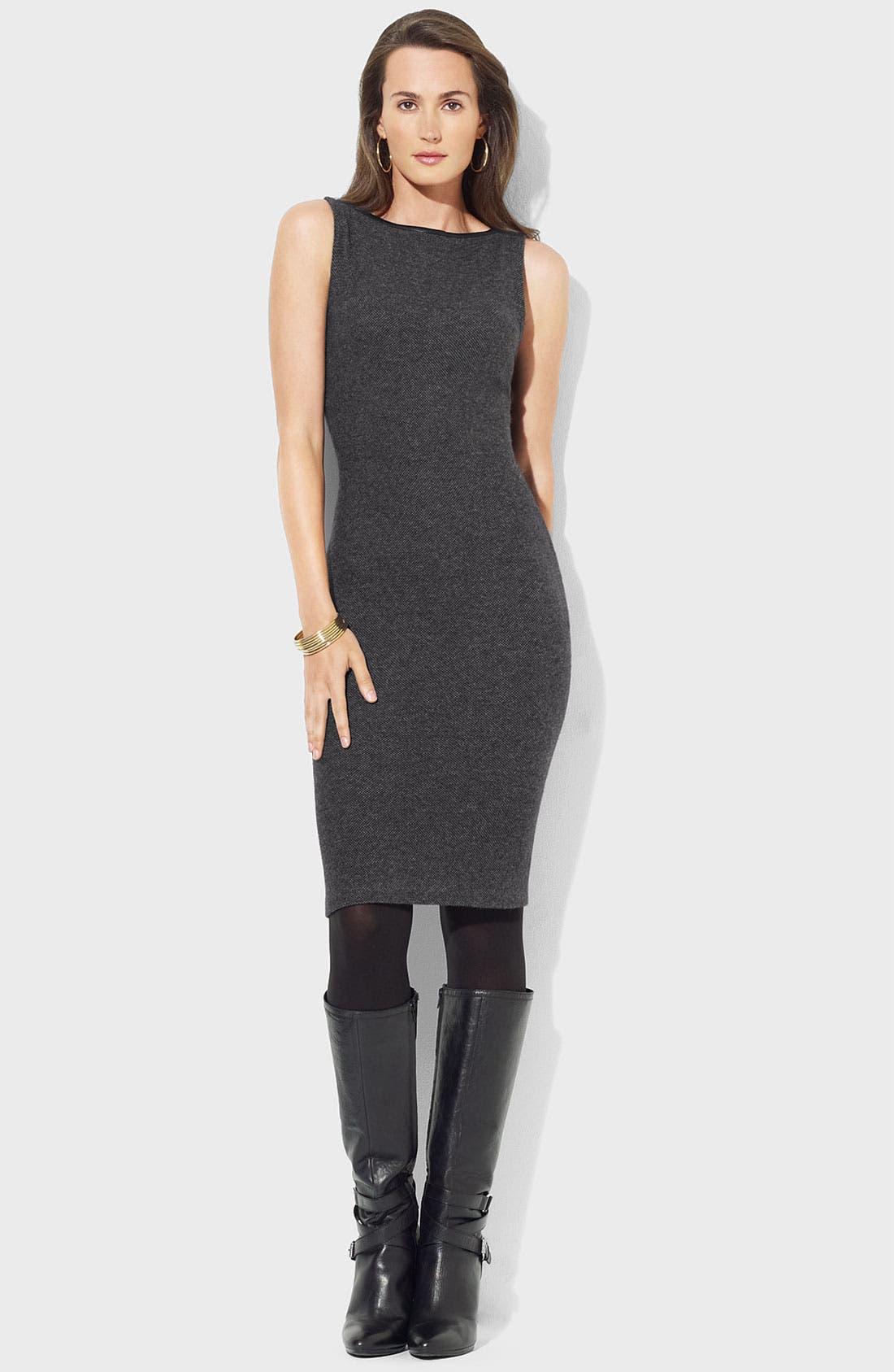 Main Image - Lauren Ralph Lauren Bateau Neck Knit Sheath Dress