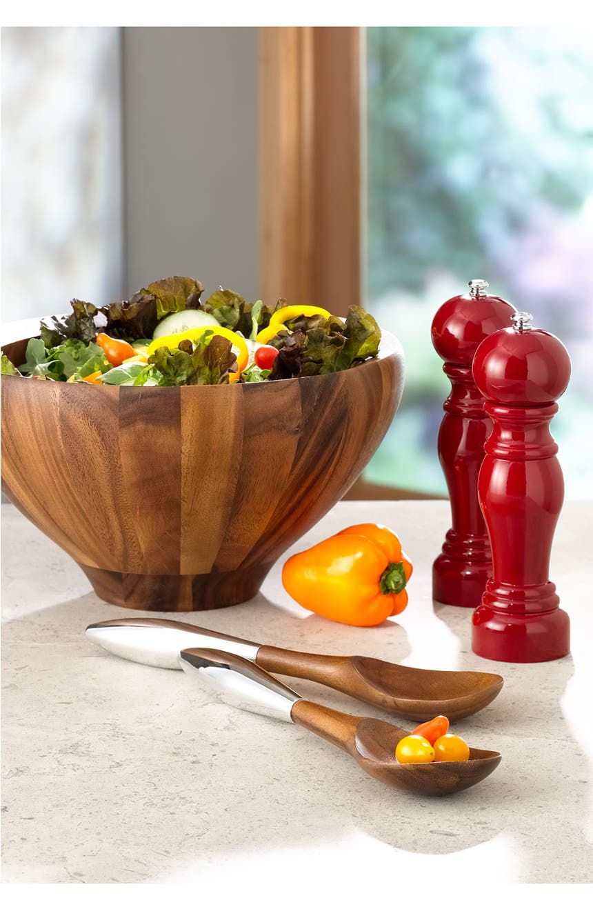 nambé yaro  quart wood salad bowl  servers  nordstrom -
