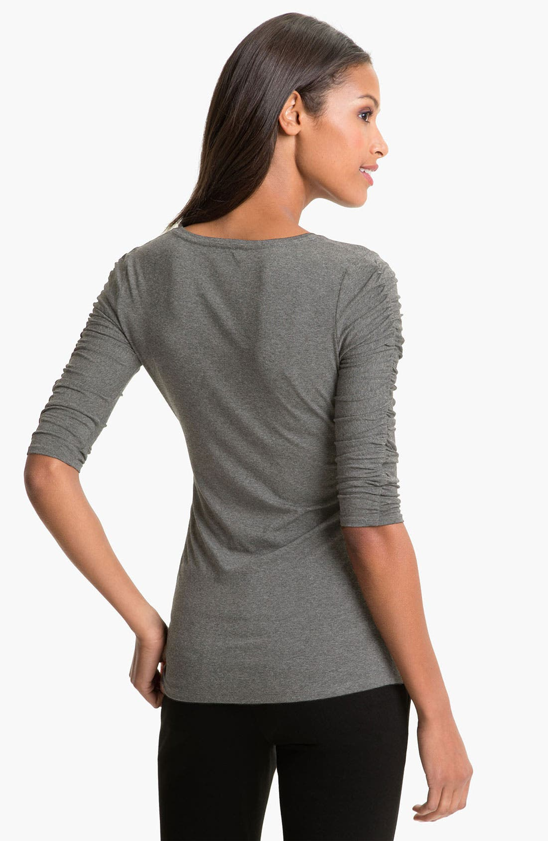 Alternate Image 2  - Vince Camuto Ruched Three Quarter Sleeve Tee