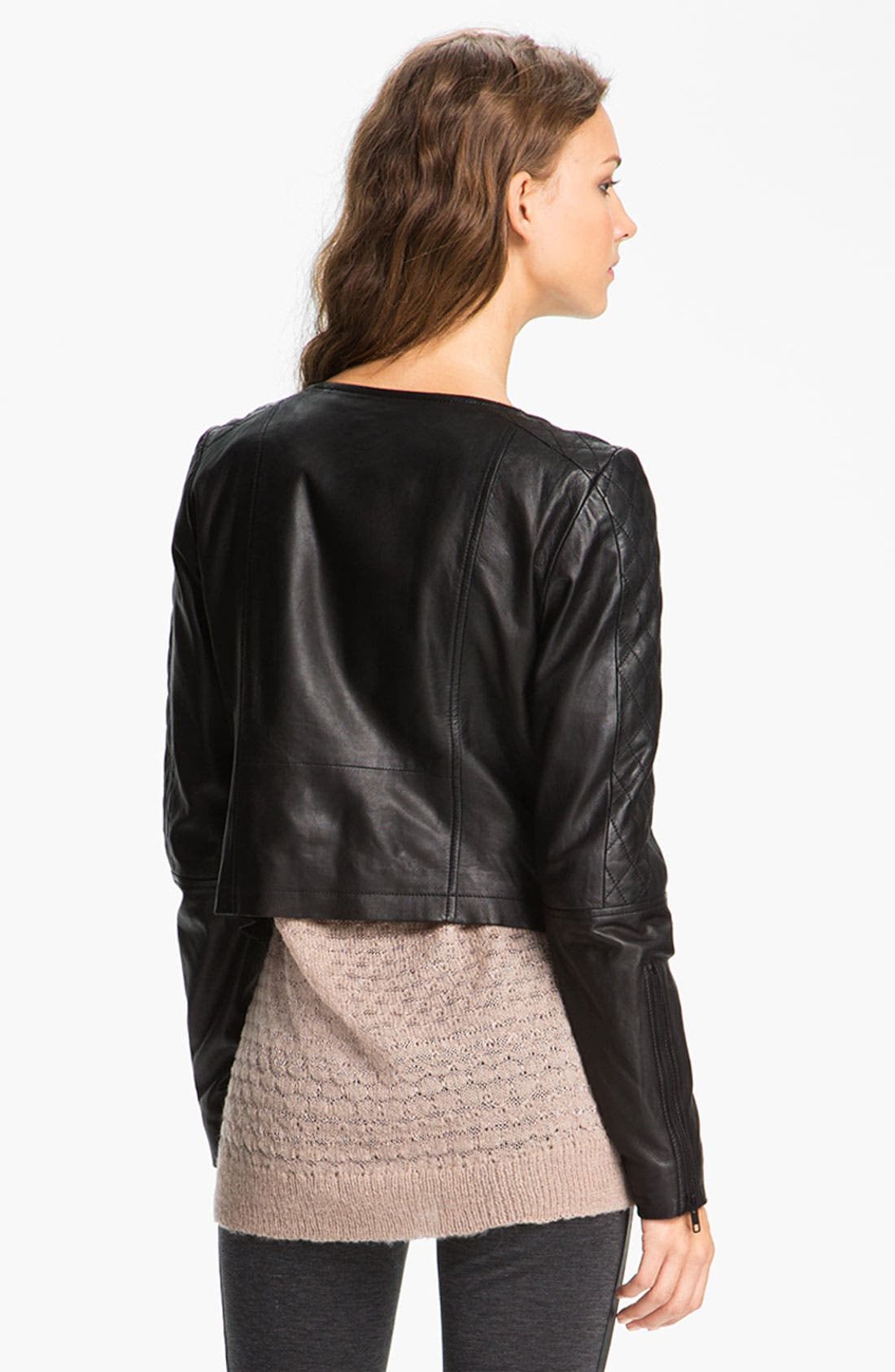 Alternate Image 2  - Trouvé Quilted Panel Leather Moto Jacket