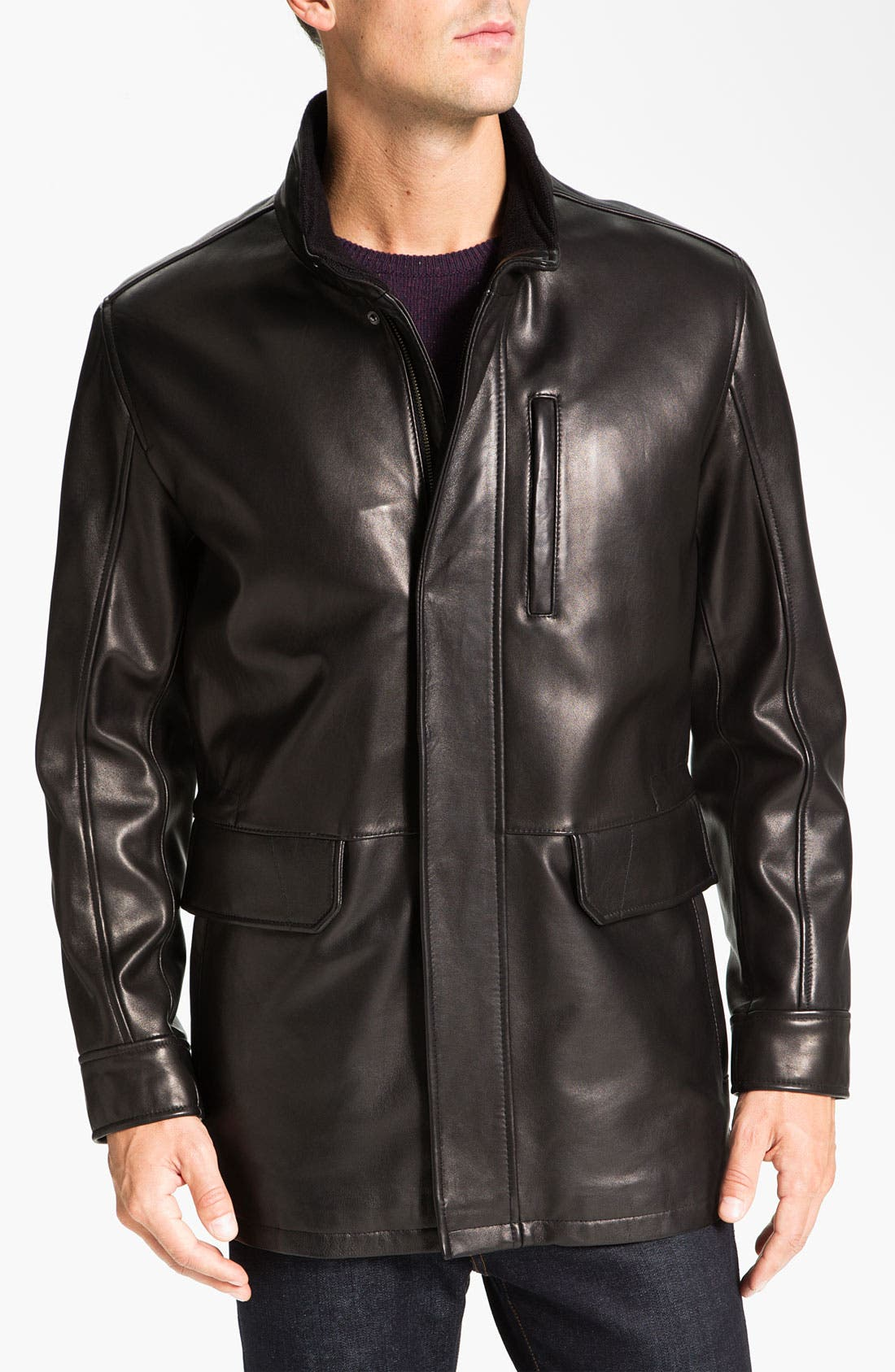 Main Image - Cole Haan Lambskin Leather Car Coat