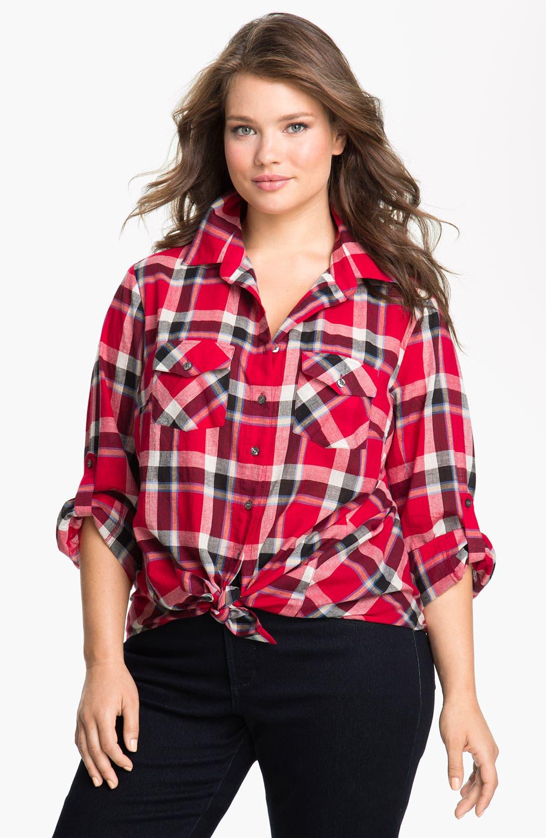 Alternate Image 1 Selected - Sandra Ingrish Roll Sleeve Plaid Shirt (Plus)