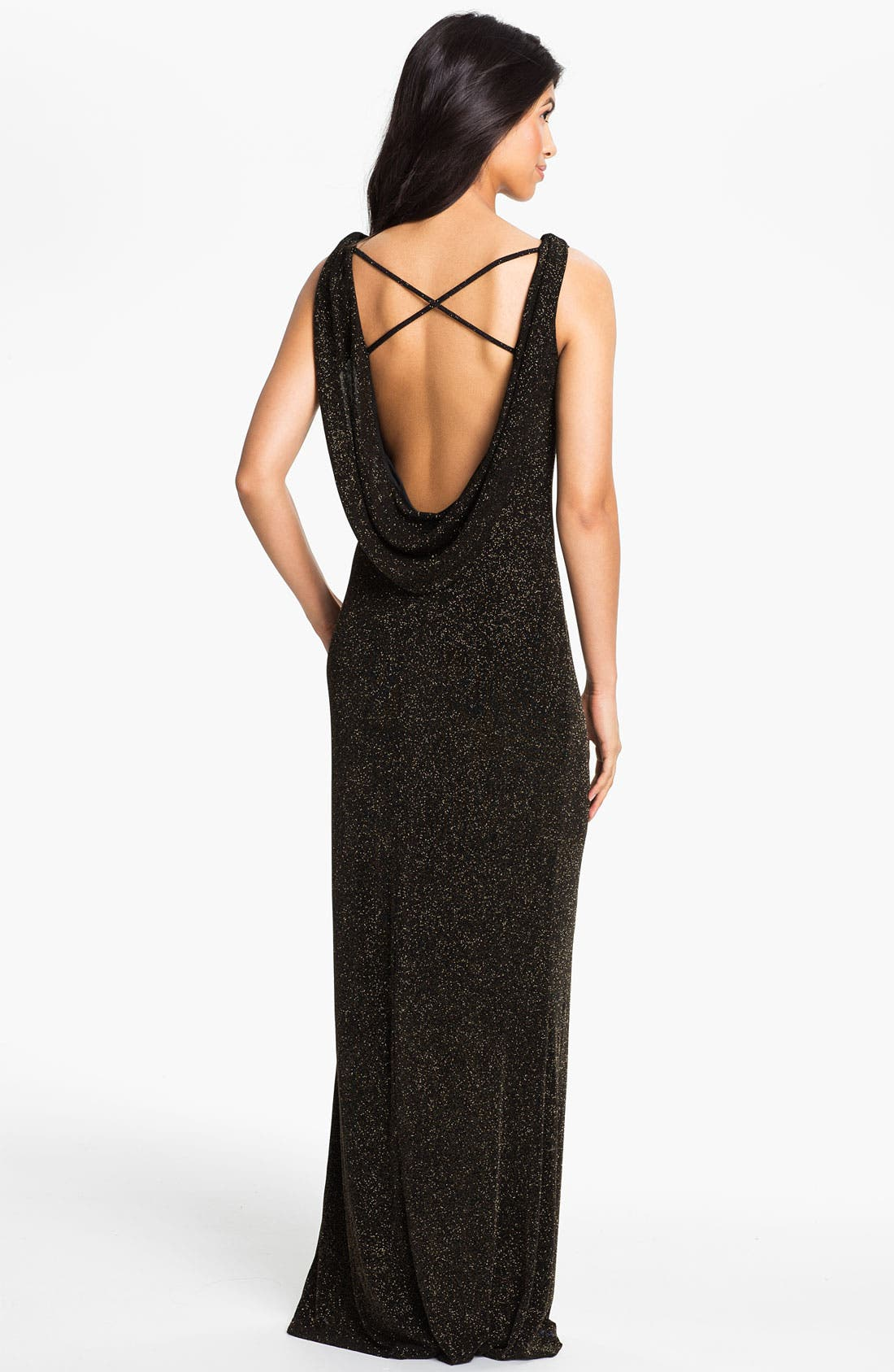 Alternate Image 2  - Adrianna Papell Drape Back Glitter Jersey Gown