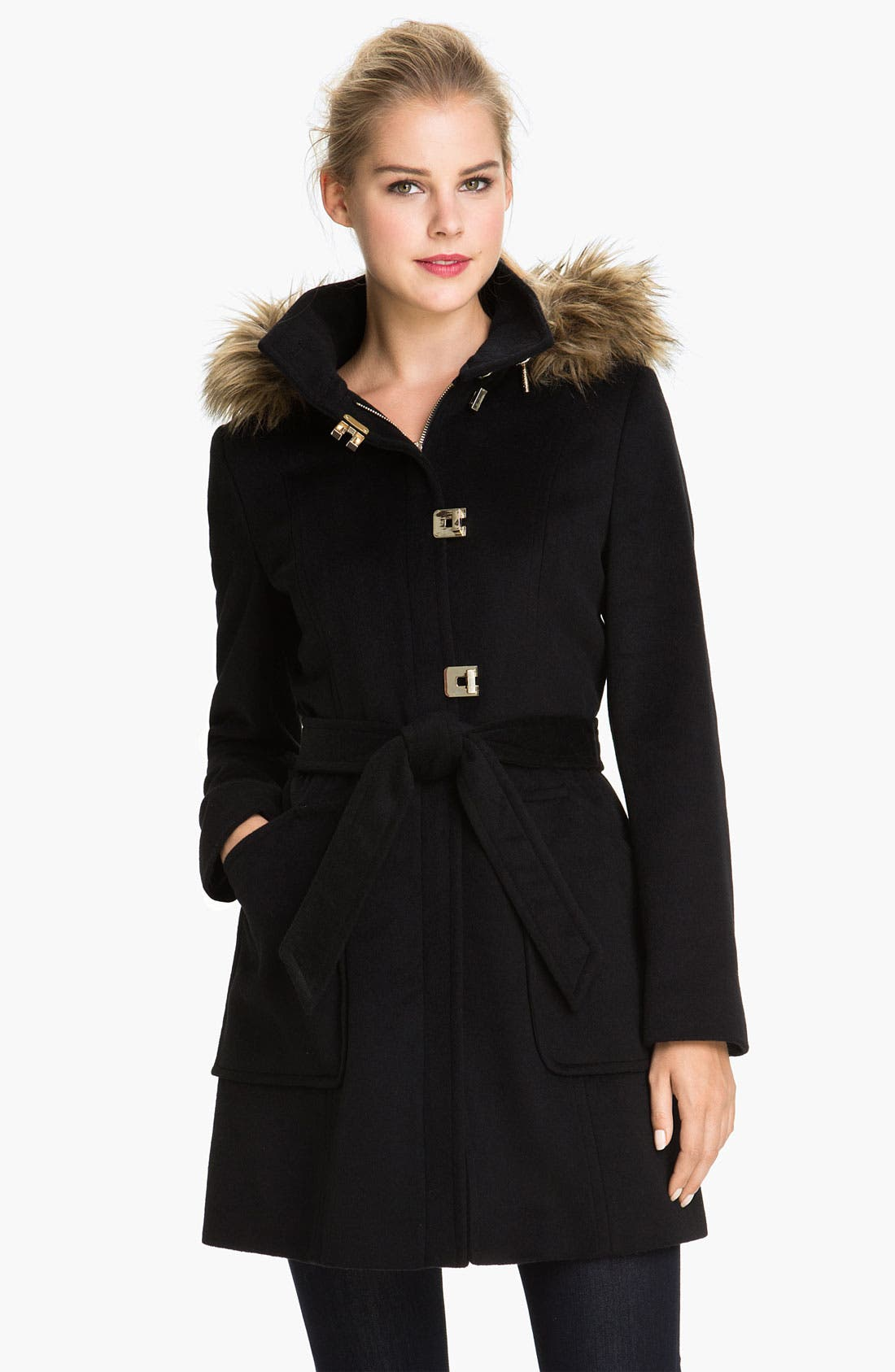Faux Fur Trim Turnkey Coat,                             Main thumbnail 1, color,                             Black