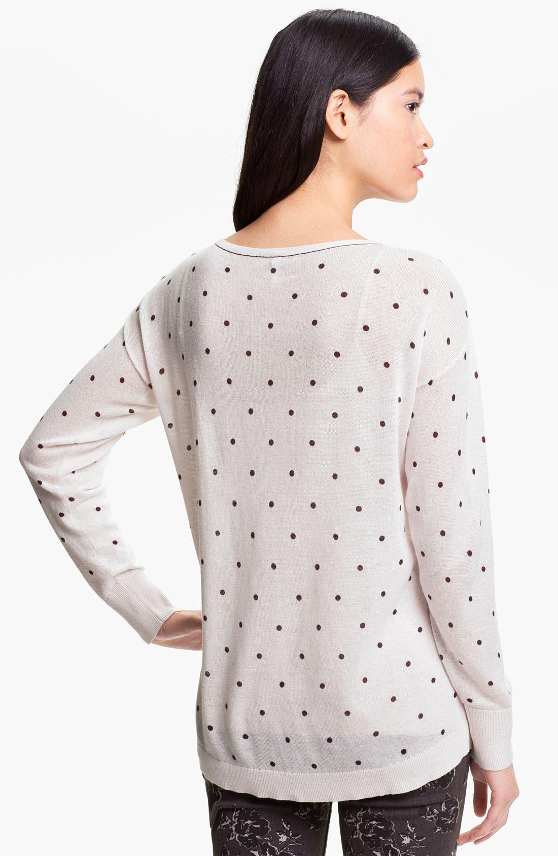 Alternate Image 2  - Frenchi® Polka Dot Lightweight Cotton Sweater (Juniors)