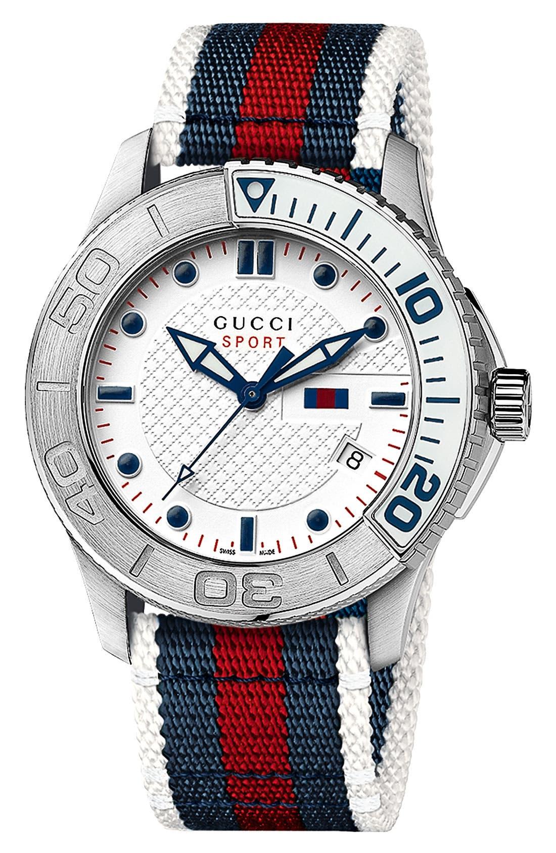 Main Image - Gucci 'G Timeless' Nylon Strap Watch, 44mm