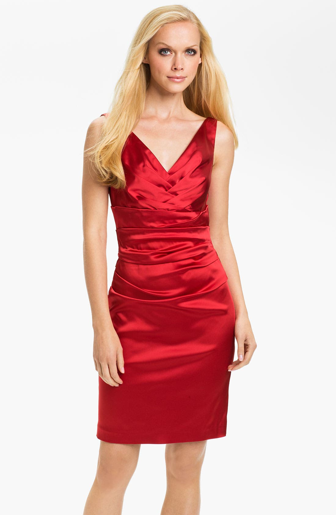 Alternate Image 1 Selected - Suzi Chin for Maggy Boutique Double V-Neck Ruched Sheath Dress