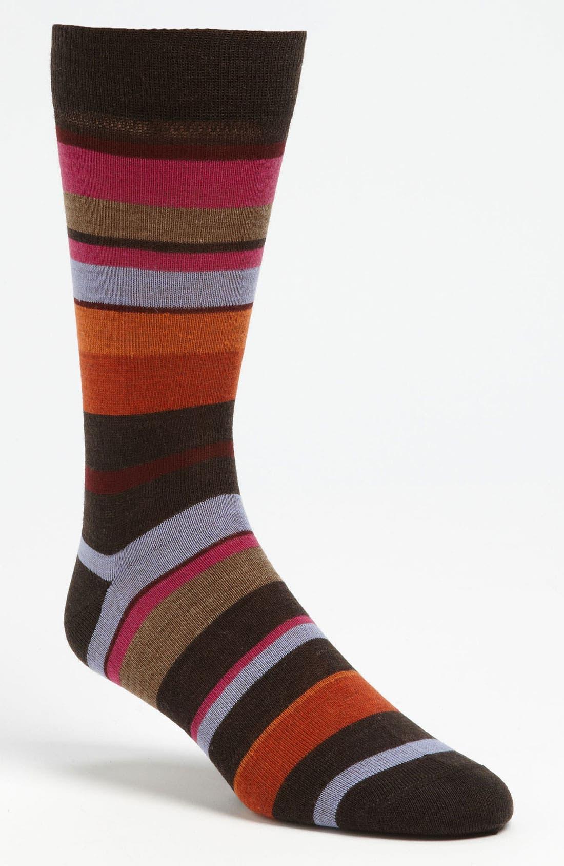 Alternate Image 1 Selected - Lorenzo Uomo Stripe Dress Socks (3 for $27)