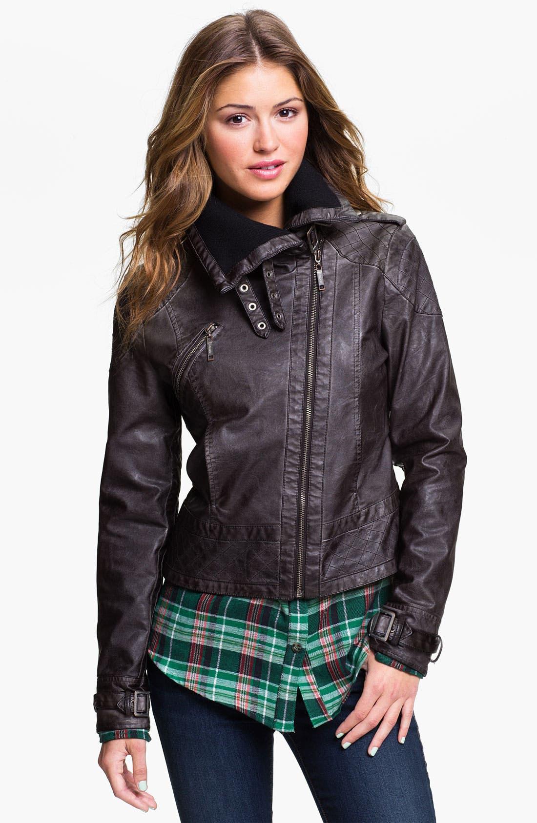 Alternate Image 3  - Jou Jou Knit Collar Moto Jacket (Juniors)