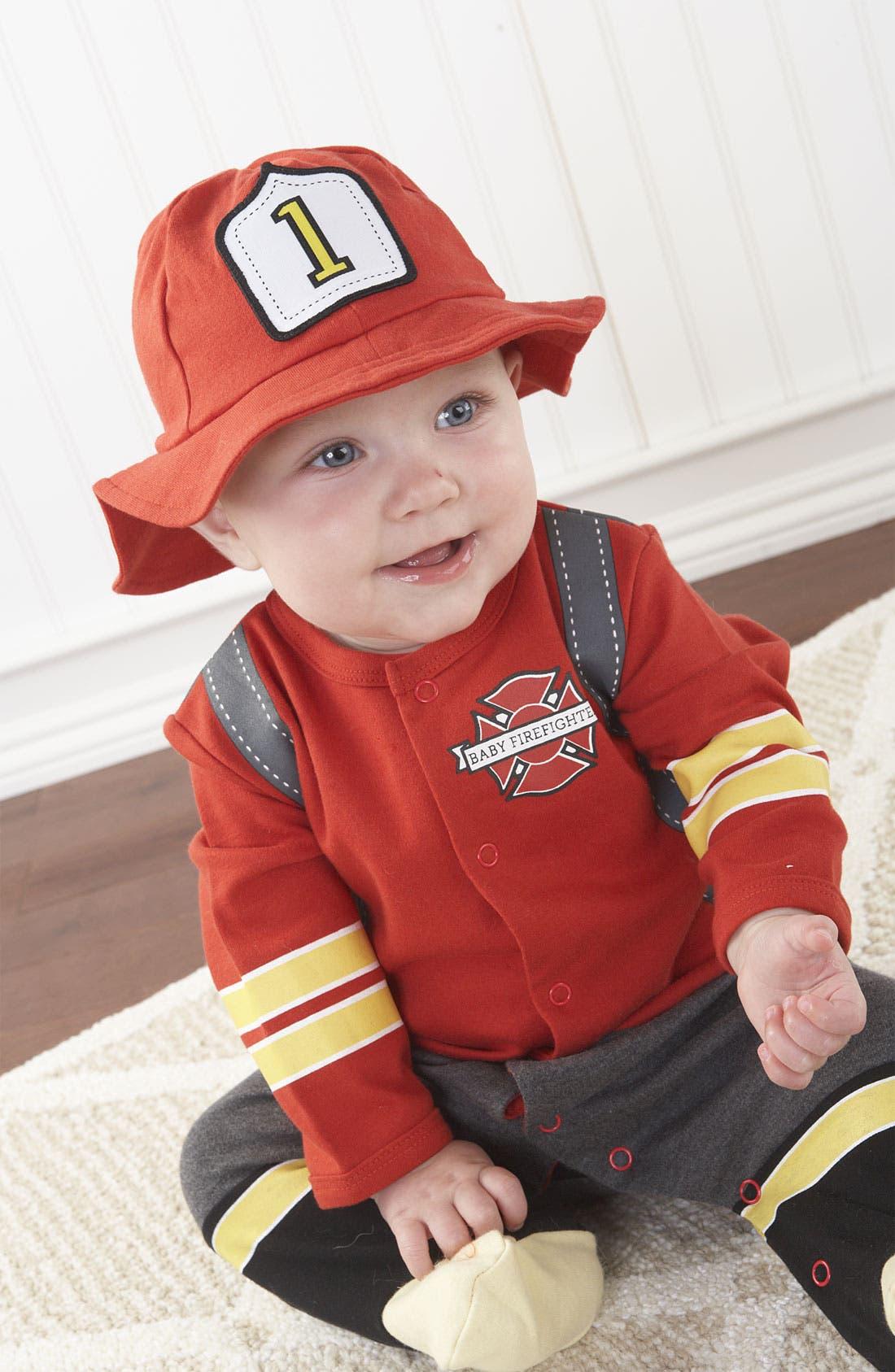 'Big Dreamzzz - Firefighter' Footie & Hat,                             Main thumbnail 1, color,                             Multi