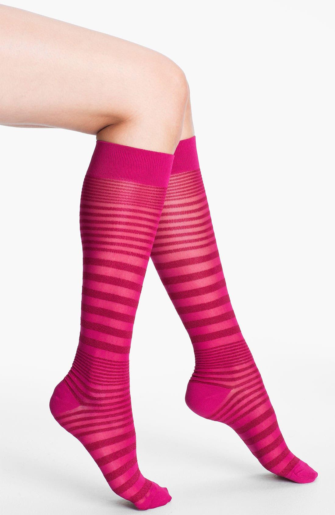 Alternate Image 1 Selected - Nordstrom Sheer Stripe Knee Highs
