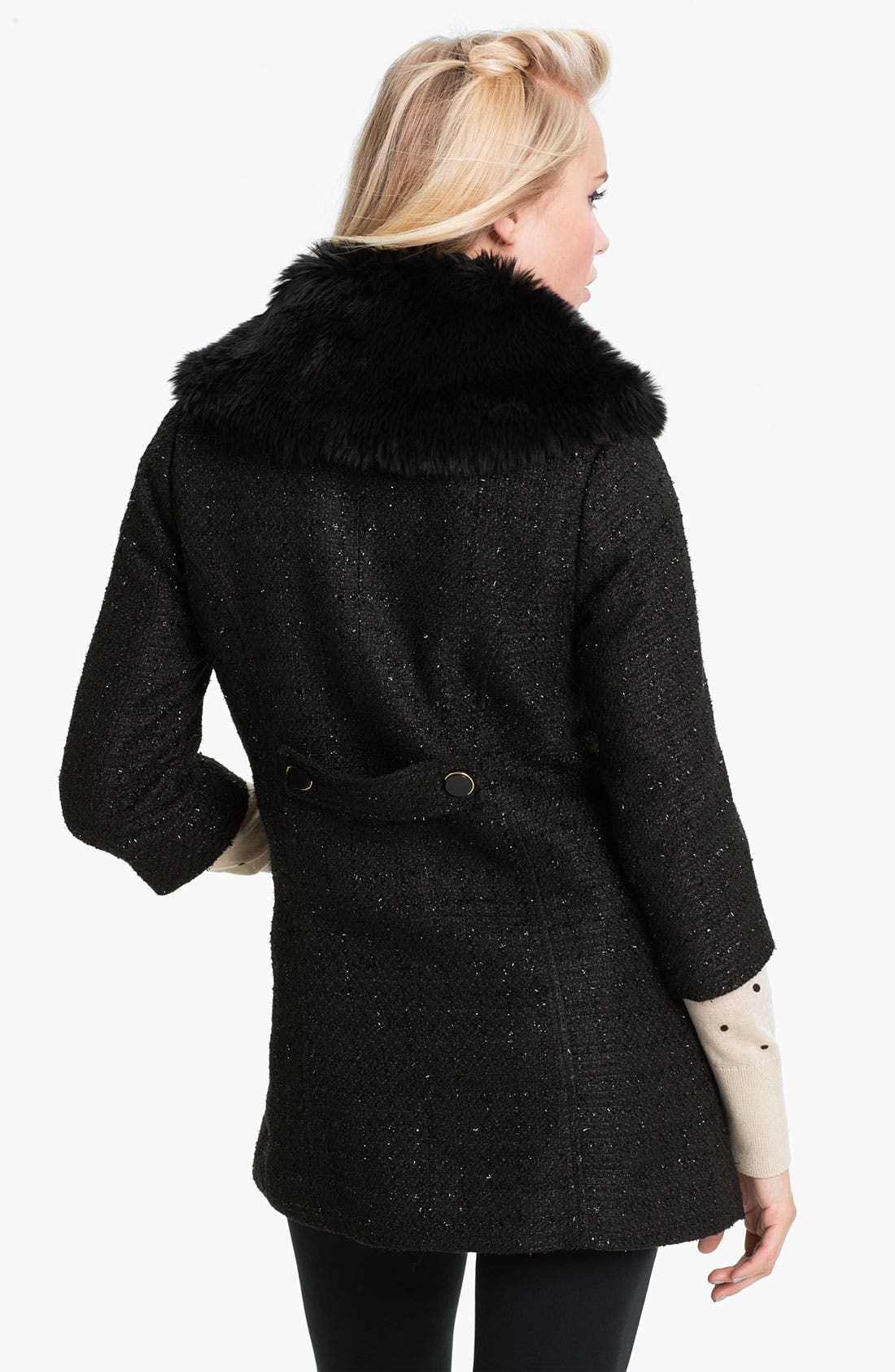 Alternate Image 2  - Tulle Faux Fur Collar Metallic Bouclé Coat (Juniors)