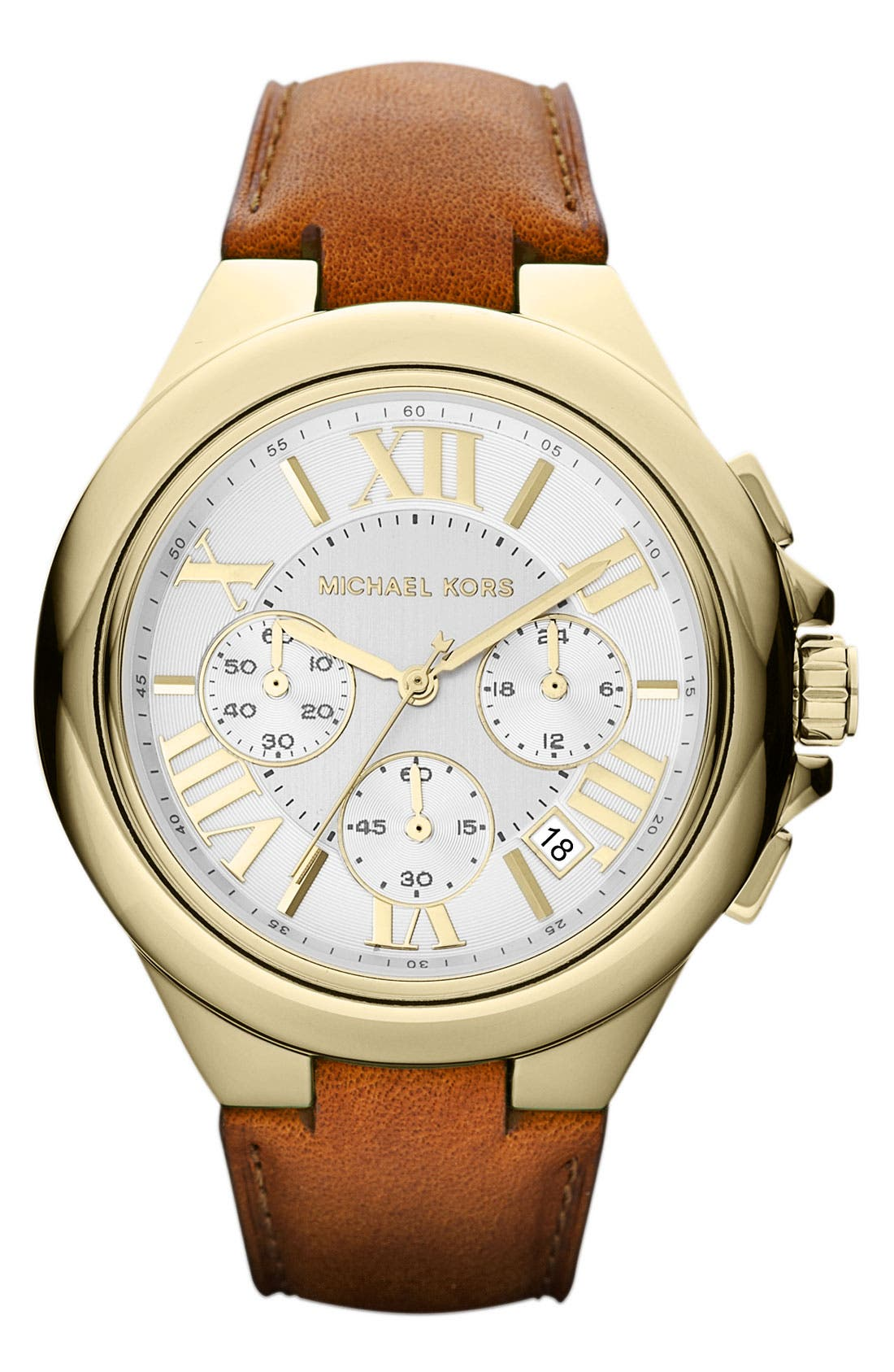 Alternate Image 1 Selected - Michael Kors 'Camille' Chronograph Leather Strap Watch