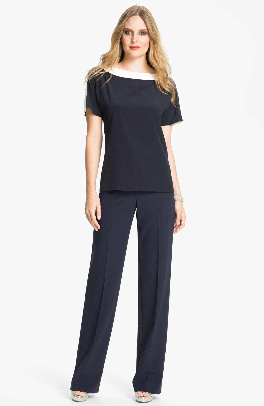 Alternate Image 1 Selected - St. John Collection 'Diana' Straight Leg Crepe Marocain Pants