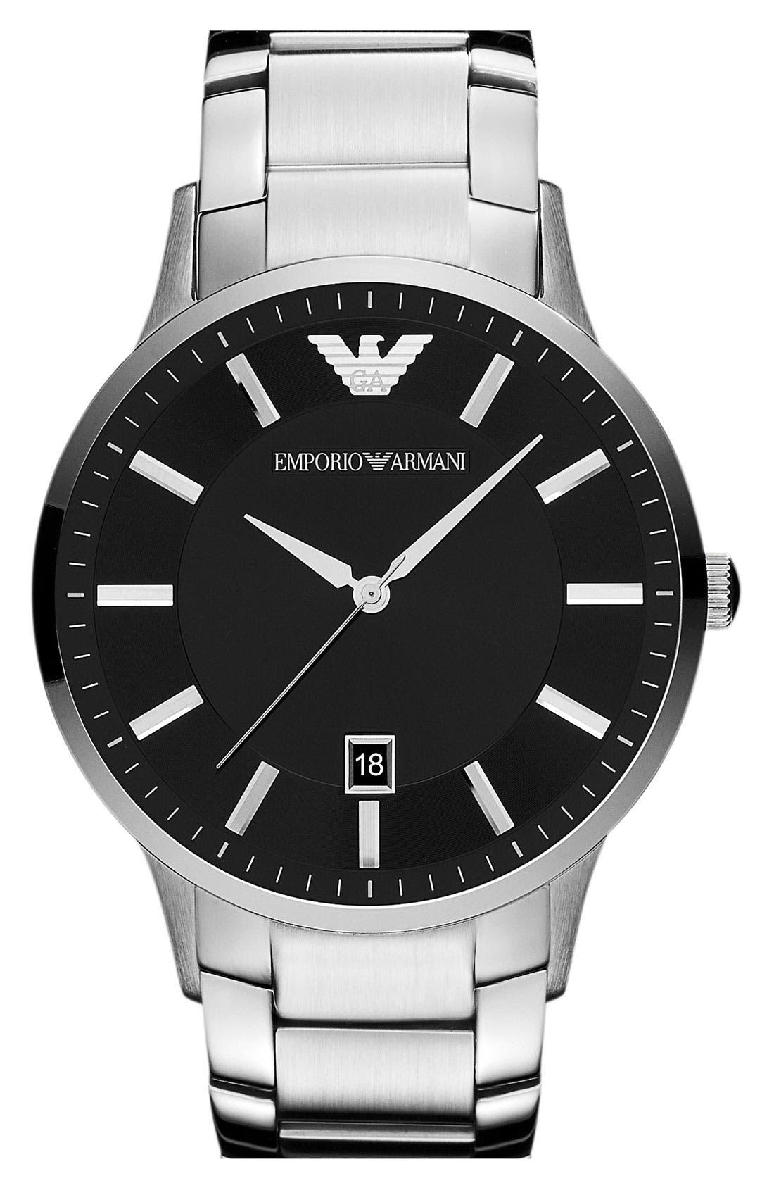 Round Bracelet Watch, 43mm,                         Main,                         color, Silver/ Black