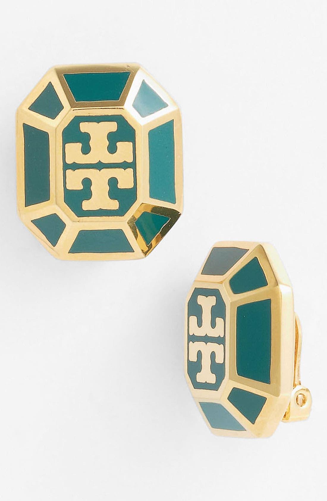 Main Image - Tory Burch 'Rylan' Logo Clip Earrings