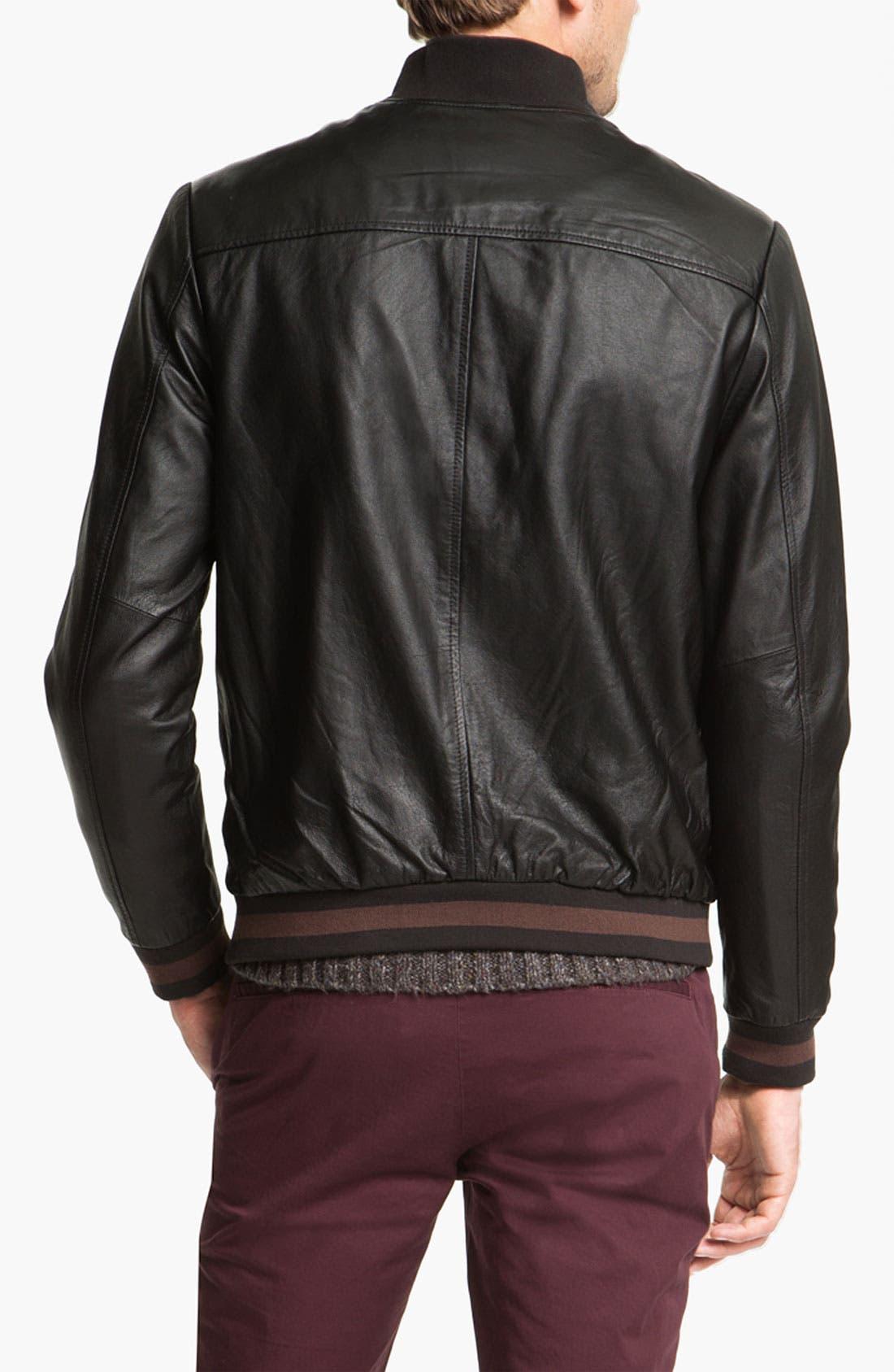 Alternate Image 2  - life/after/denim 'Full Monti' Leather Baseball Jacket