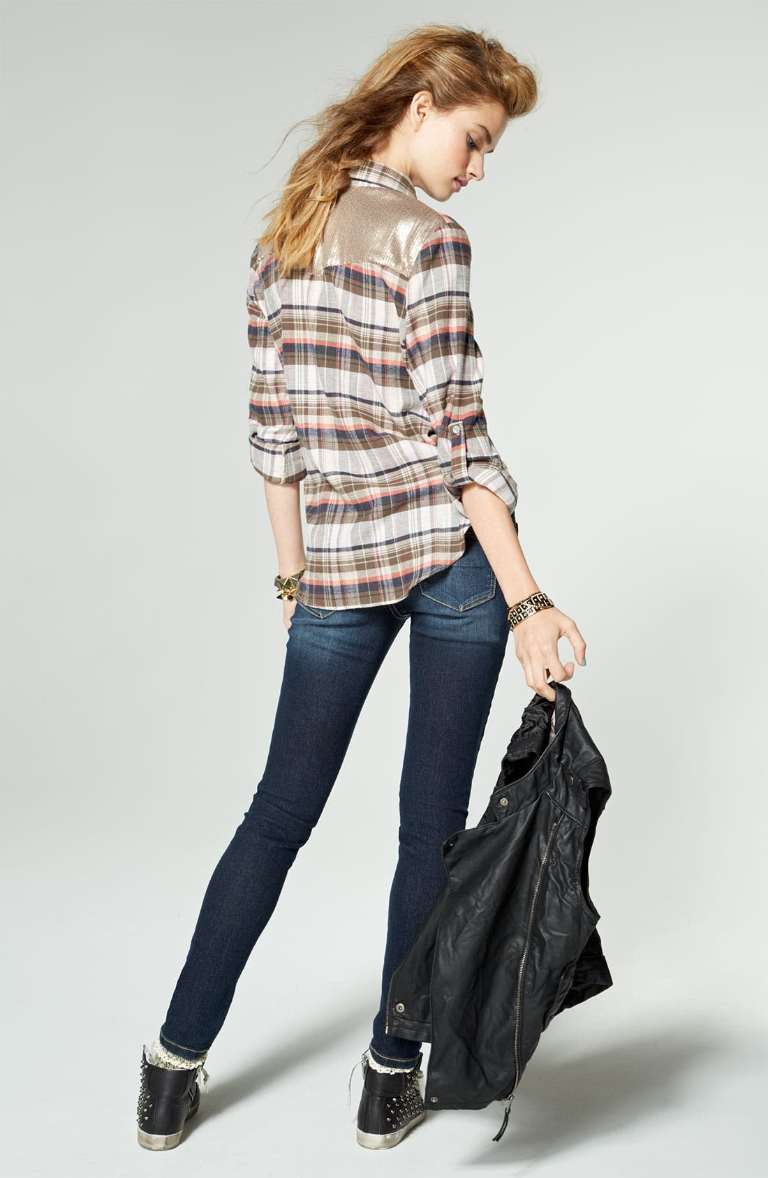 Alternate Image 5  - Jolt Stretch Skinny Jeans (Juniors)