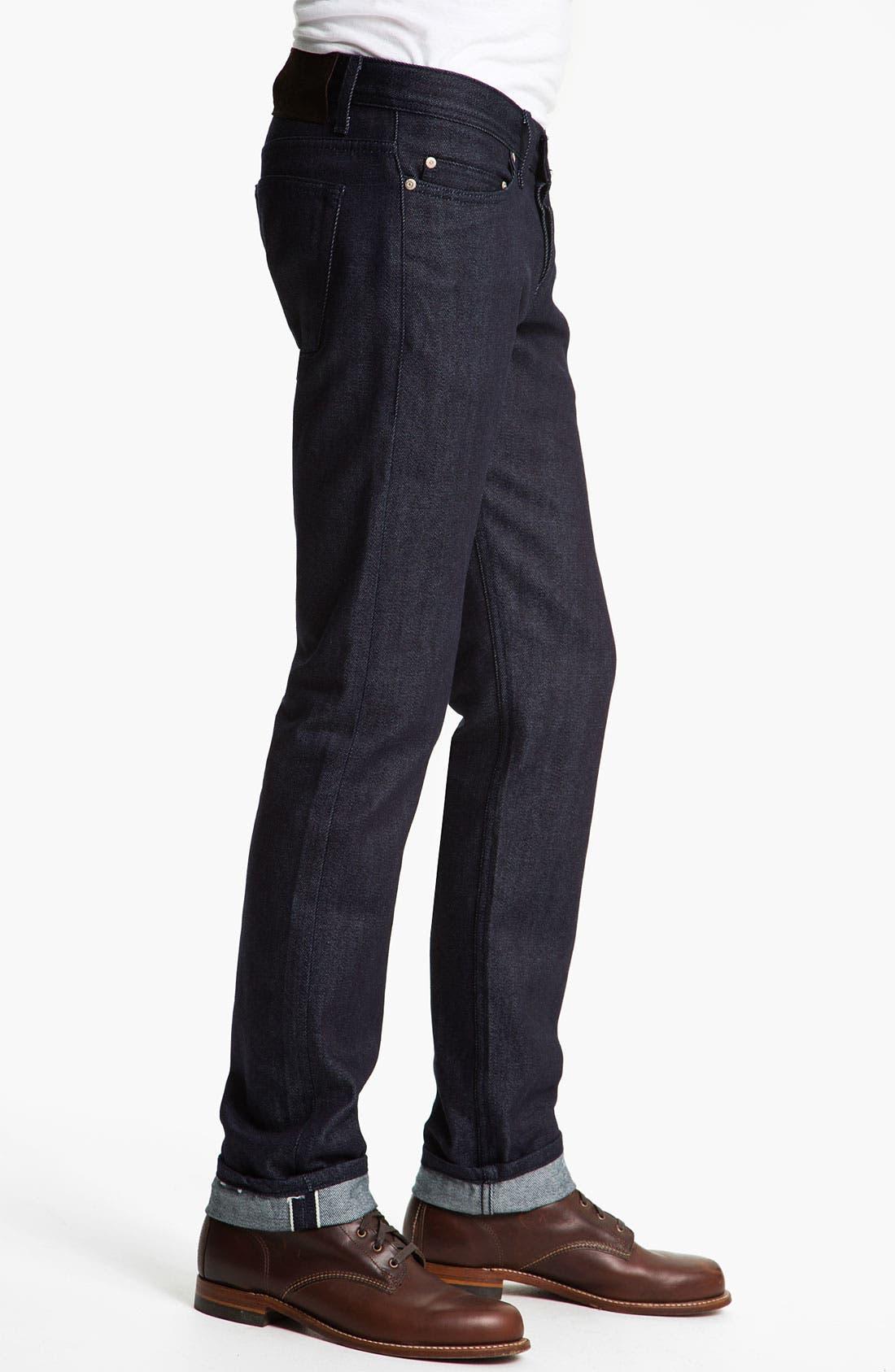 Alternate Image 3  - Naked & Famous Denim 'Weird Guy' Slim Straight Leg Selvedge Jeans (Indigo)