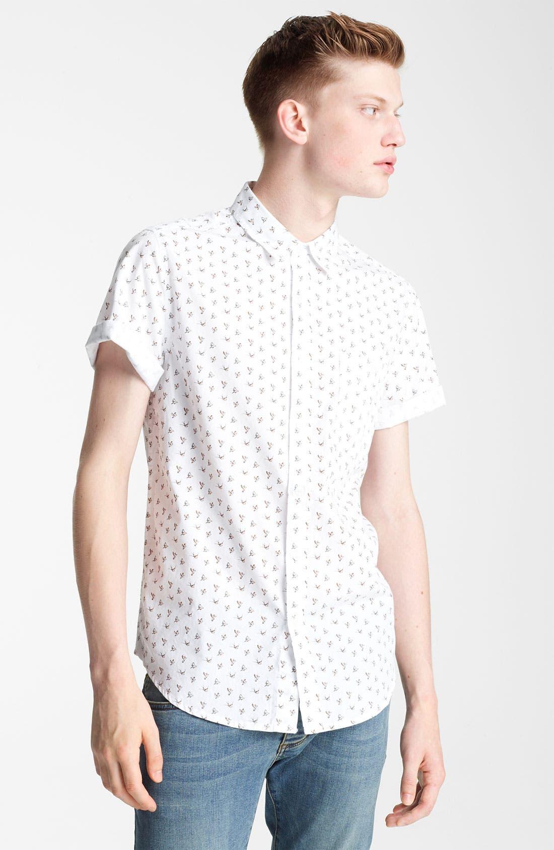 Main Image - Topman Bird Motif Woven Shirt