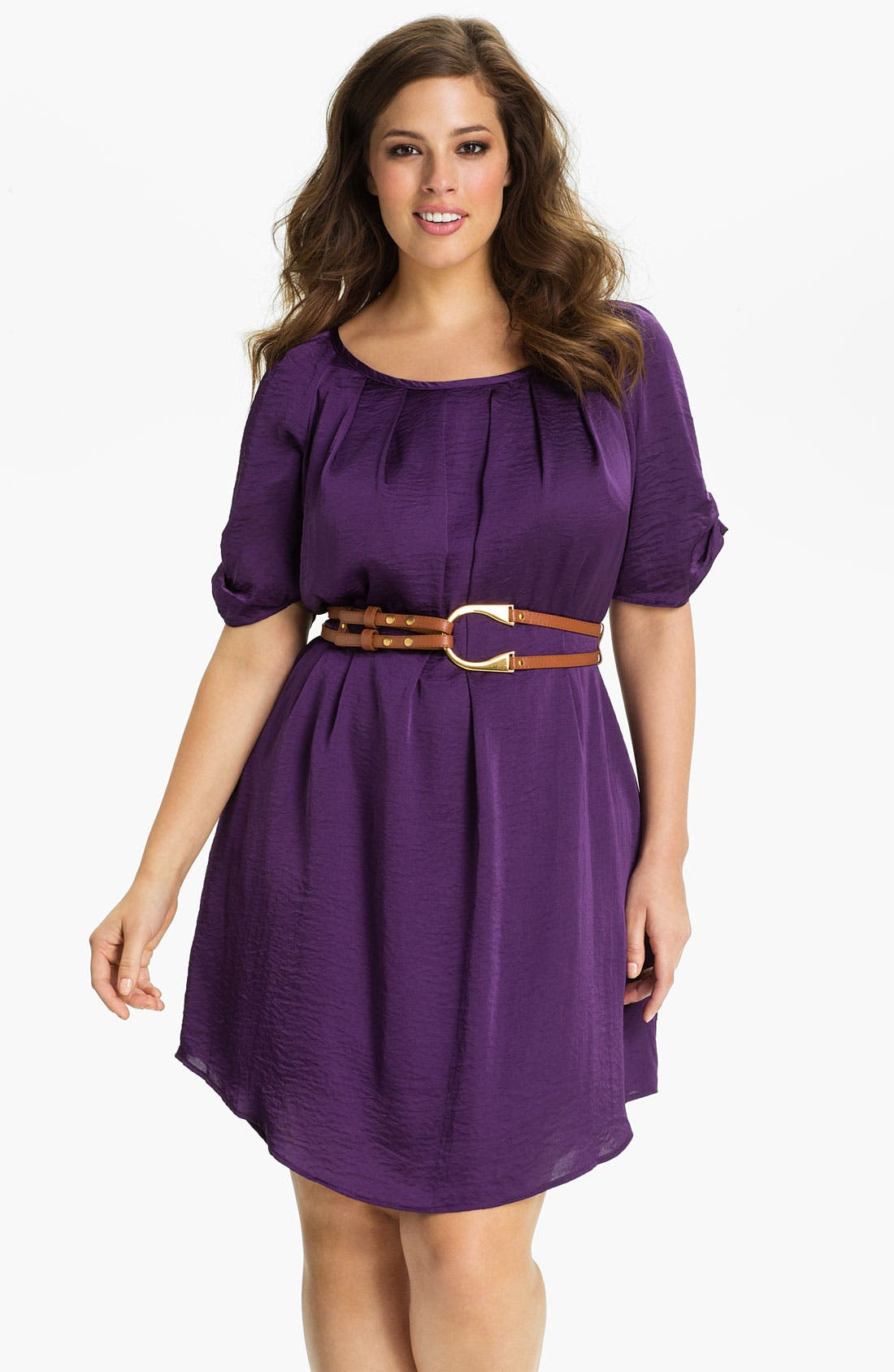 Main Image - Jessica Simpson Belted Scoop Neck Dress (Plus)