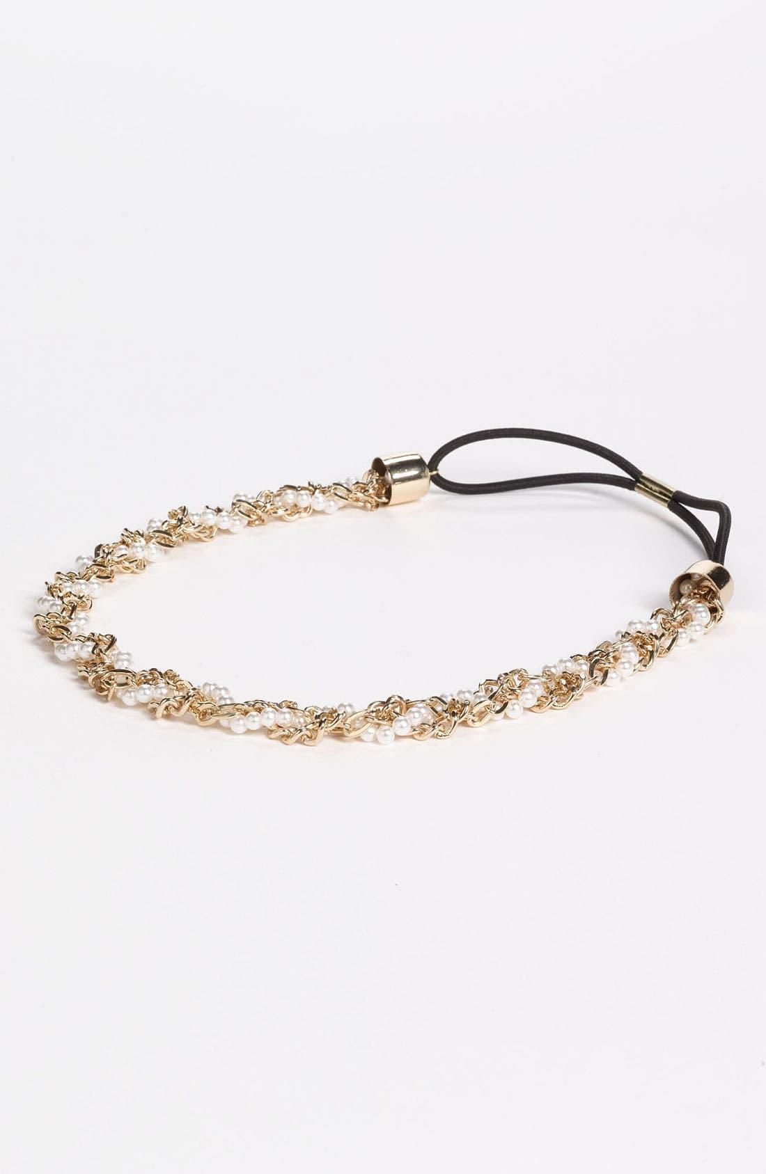 Main Image - Under One Sky Chain & Pearl Twist Headband