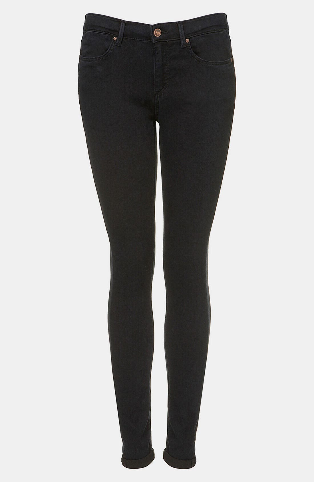 Main Image - Topshop Moto 'Leigh' Skinny Jeans (Blue Black)