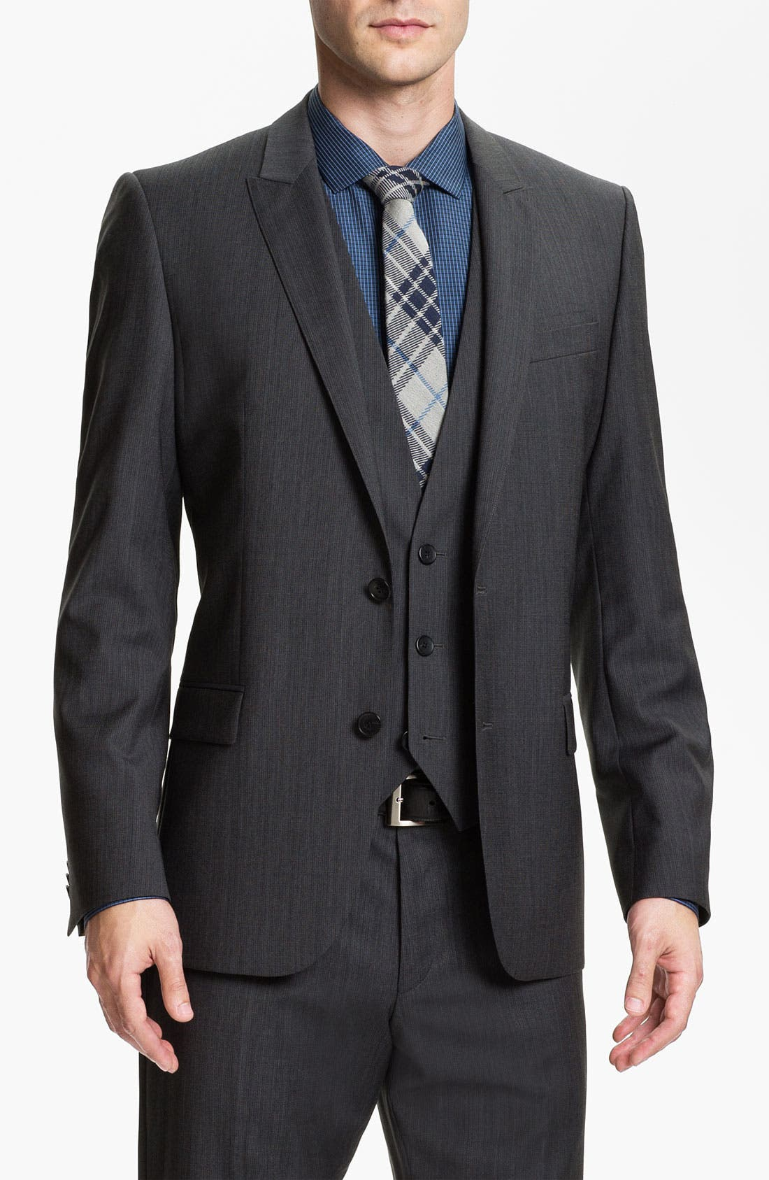 Alternate Image 4  - HUGO 'Abaro/Wior/Hedit' Trim Fit Three Piece Suit