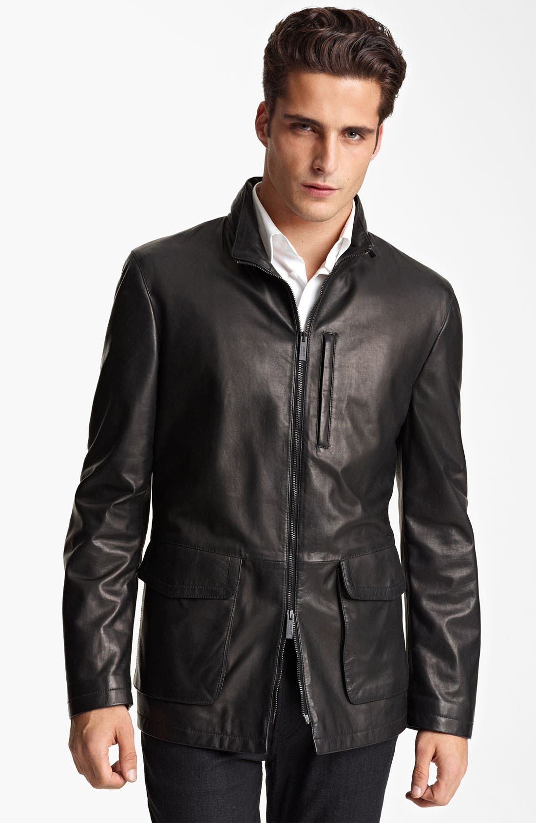 Alternate Image 1 Selected - Armani Collezioni Leather Parka