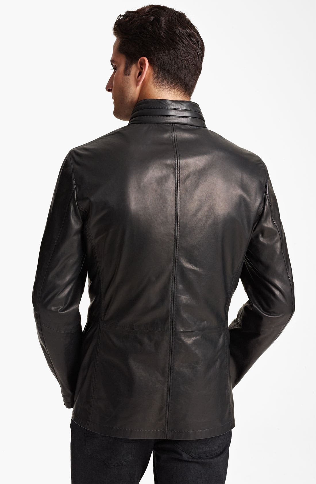 Alternate Image 2  - Armani Collezioni Leather Parka