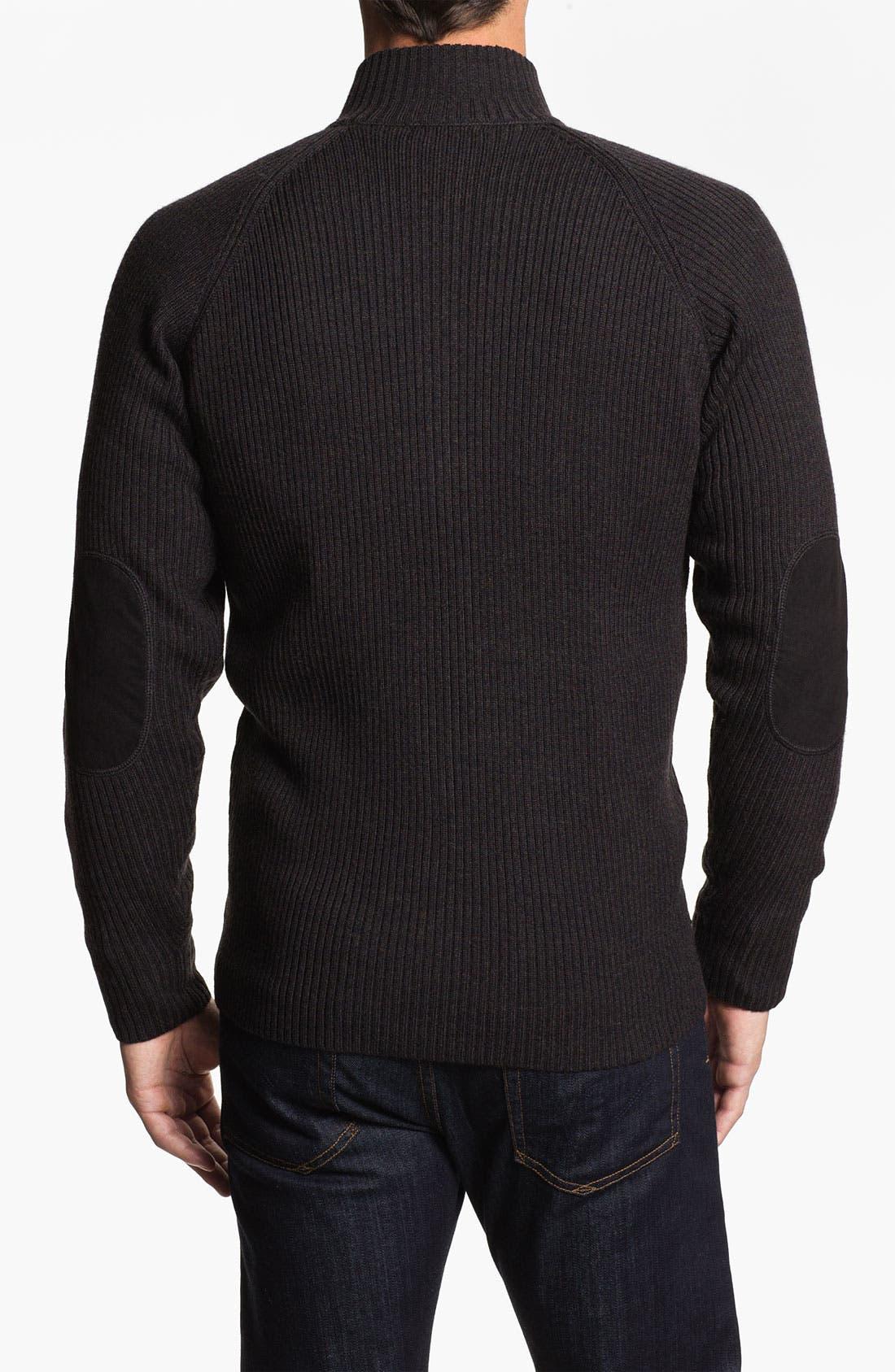 Alternate Image 2  - Bugatchi Uomo Merino Wool Zip Cardigan