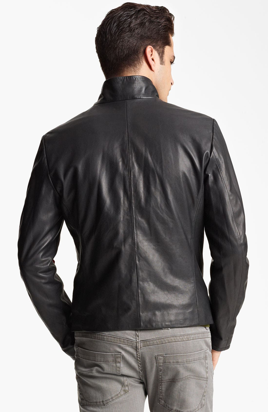 Alternate Image 2  - Armani Collezioni Perforated Leather Jacket