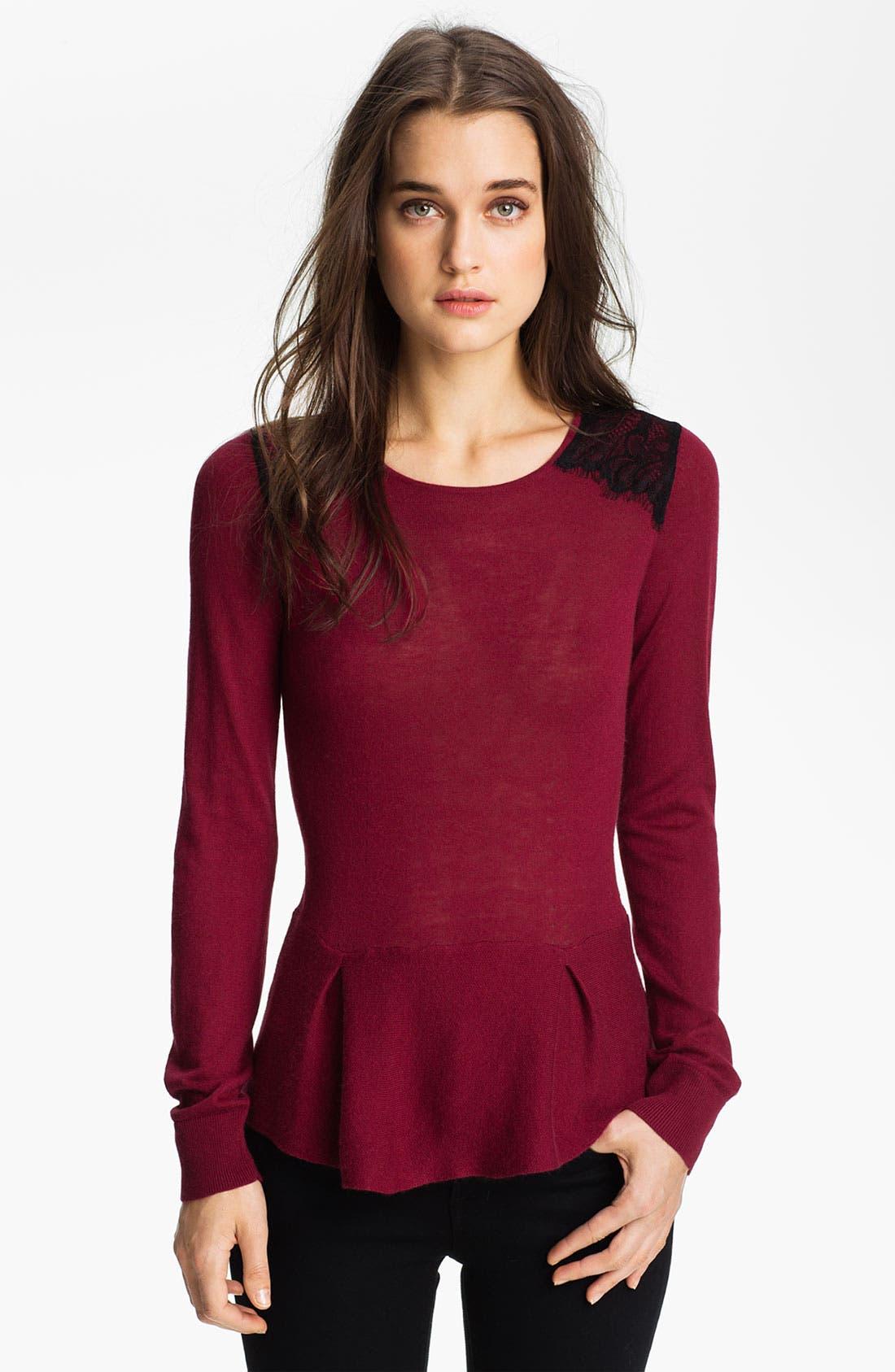 Main Image - Hinge® Lace Shoulder Peplum Sweater