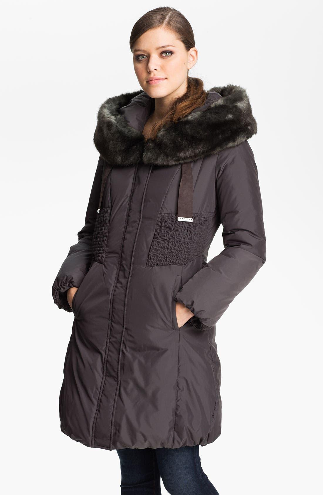 Main Image - Tahari 'Nina' Down Coat with Faux Fur Trim